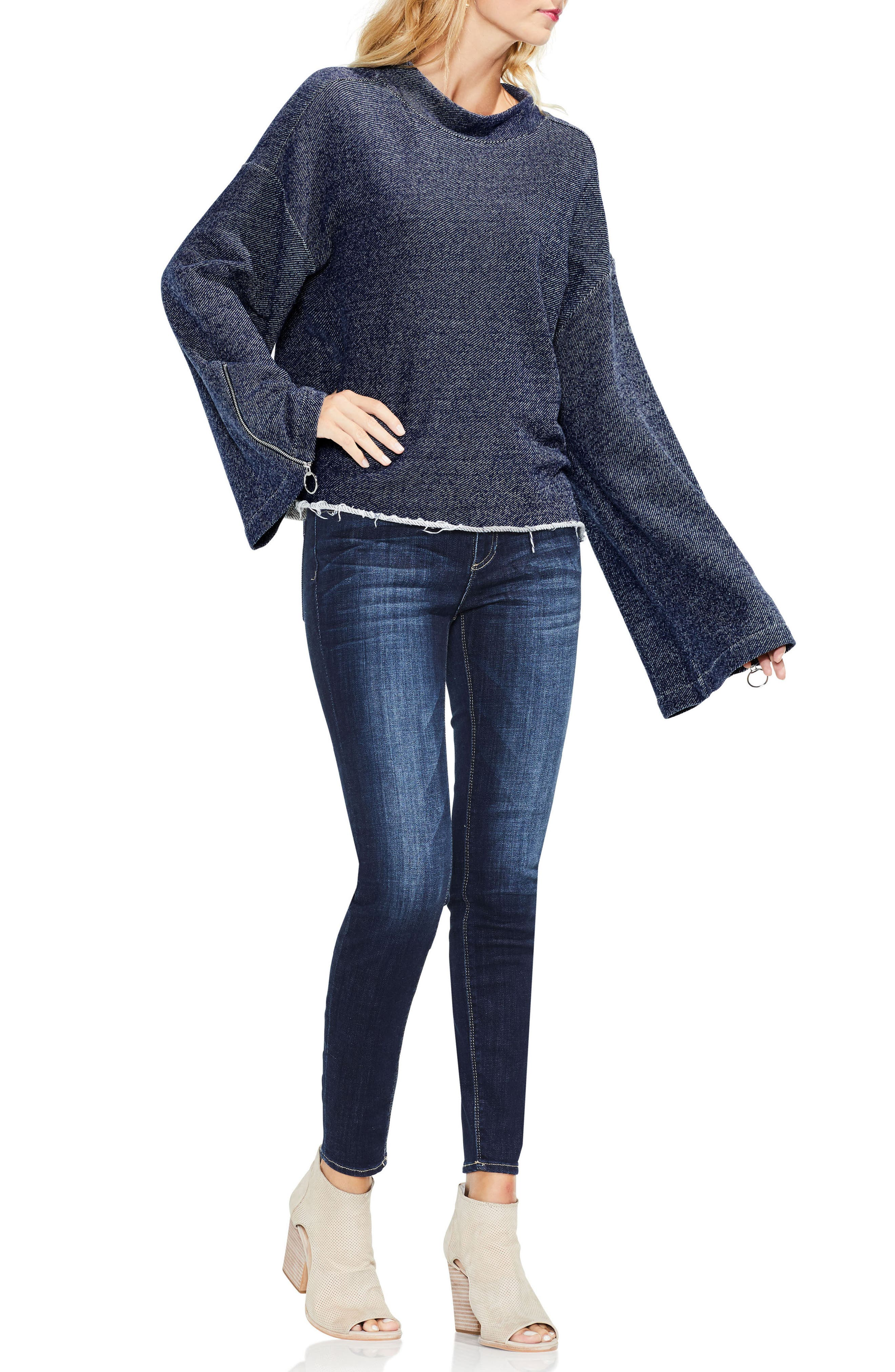 Zip Bell Sleeve Top,                             Alternate thumbnail 4, color,                             430
