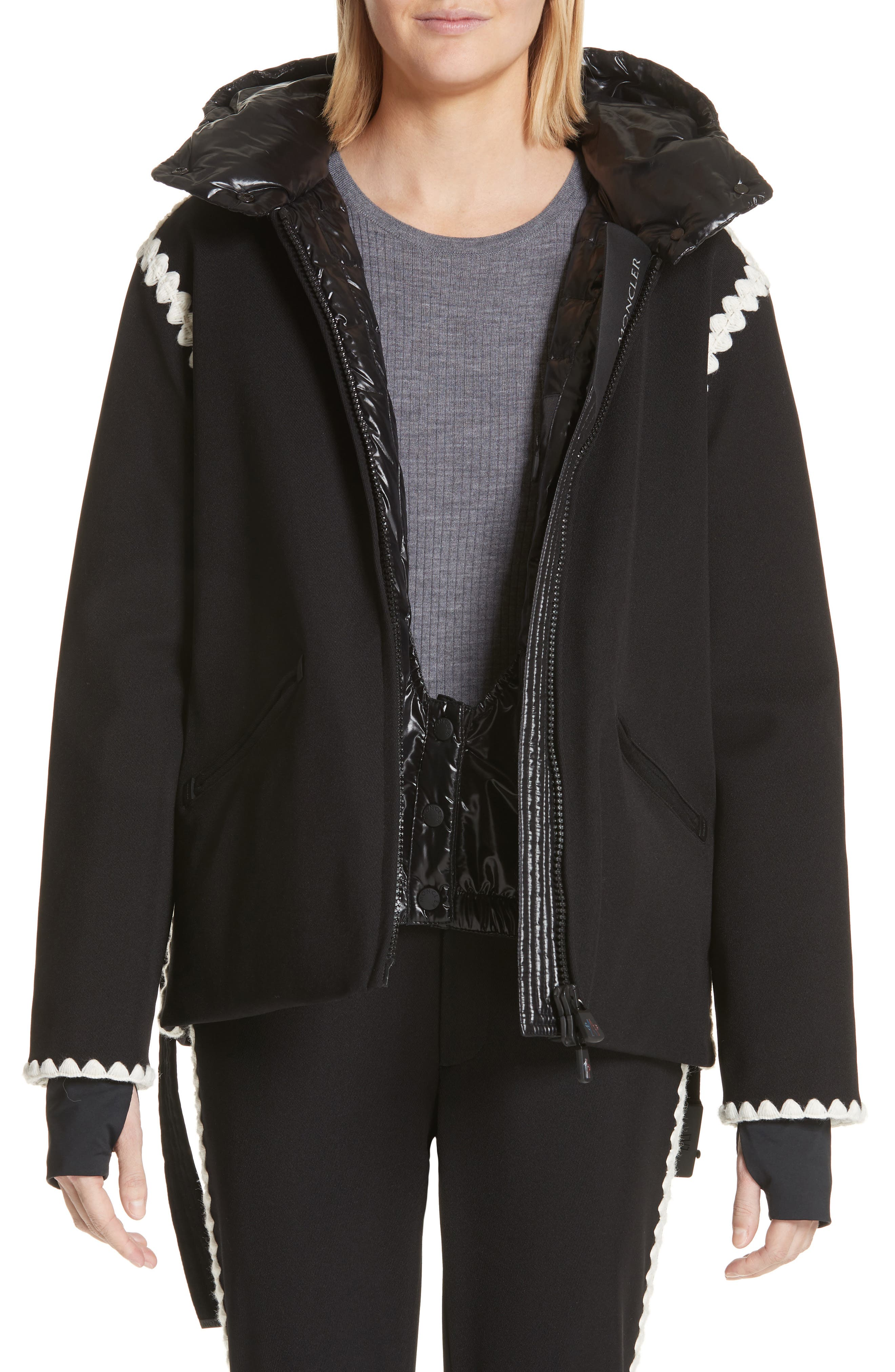 Bourget Embroidered Hooded Down Coat,                             Main thumbnail 1, color,                             BLACK
