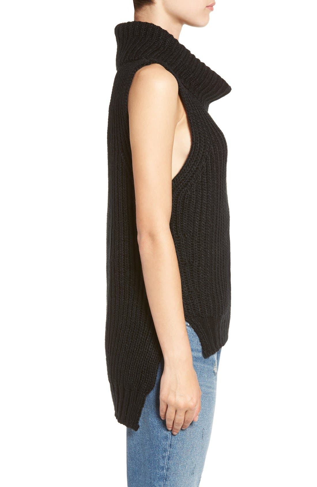 ASTR High/Low Turtleneck Sweater,                             Alternate thumbnail 5, color,                             001