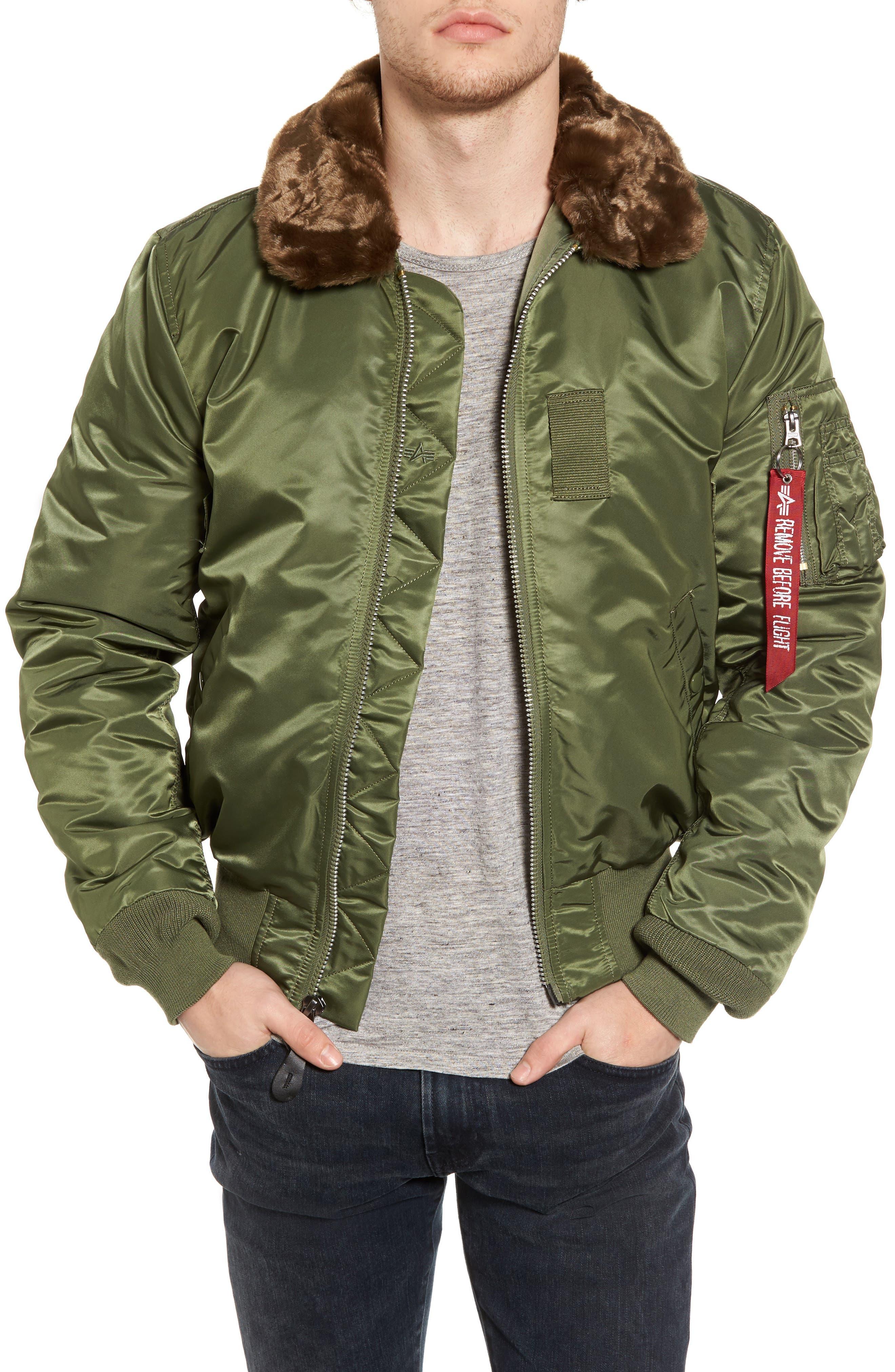 B-15 Removable Faux Fur Collar Flight Jacket,                         Main,                         color, 351