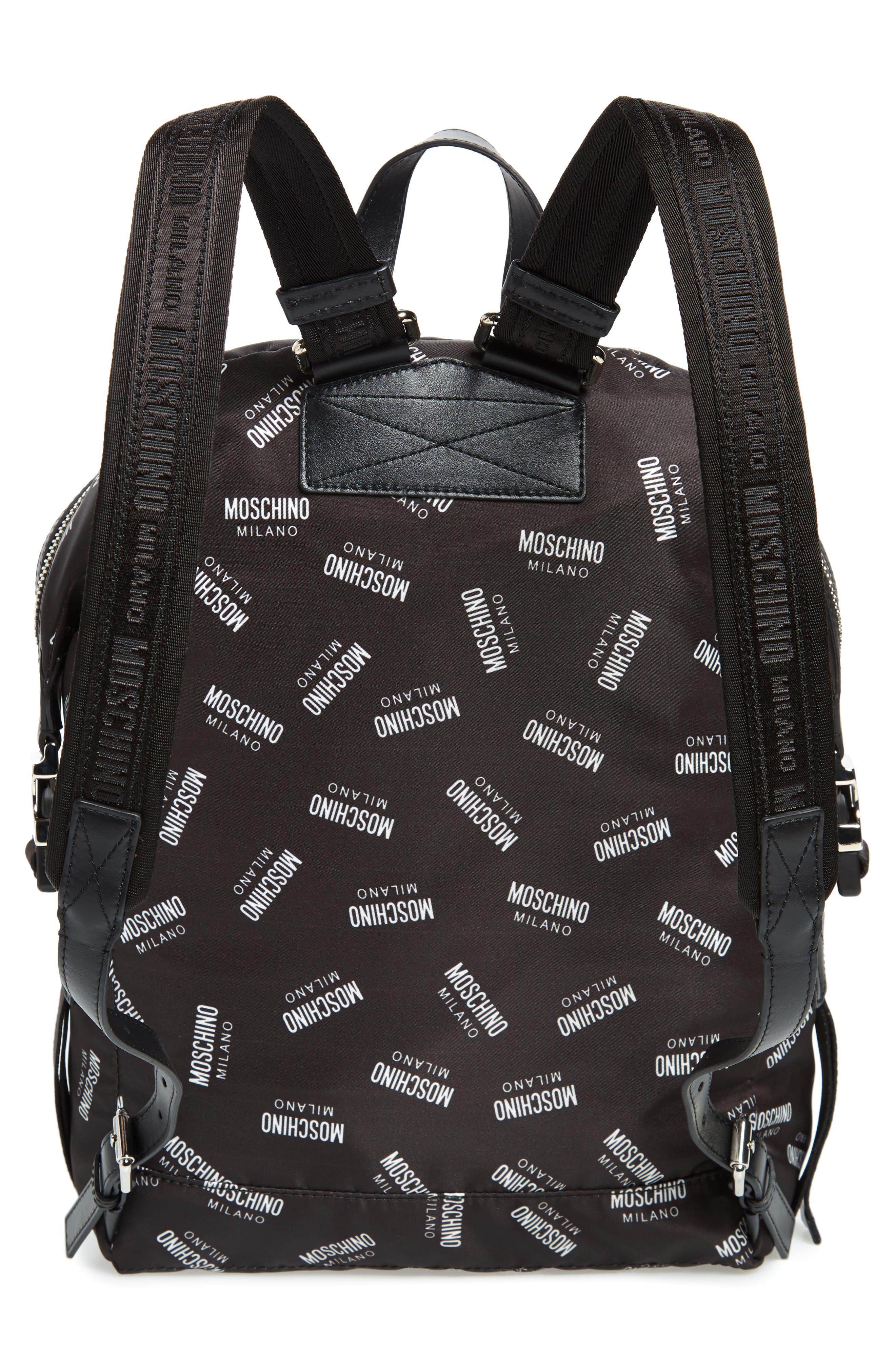 MOSCHINO,                             Allover Logo Print Backpack,                             Alternate thumbnail 3, color,                             BLACK