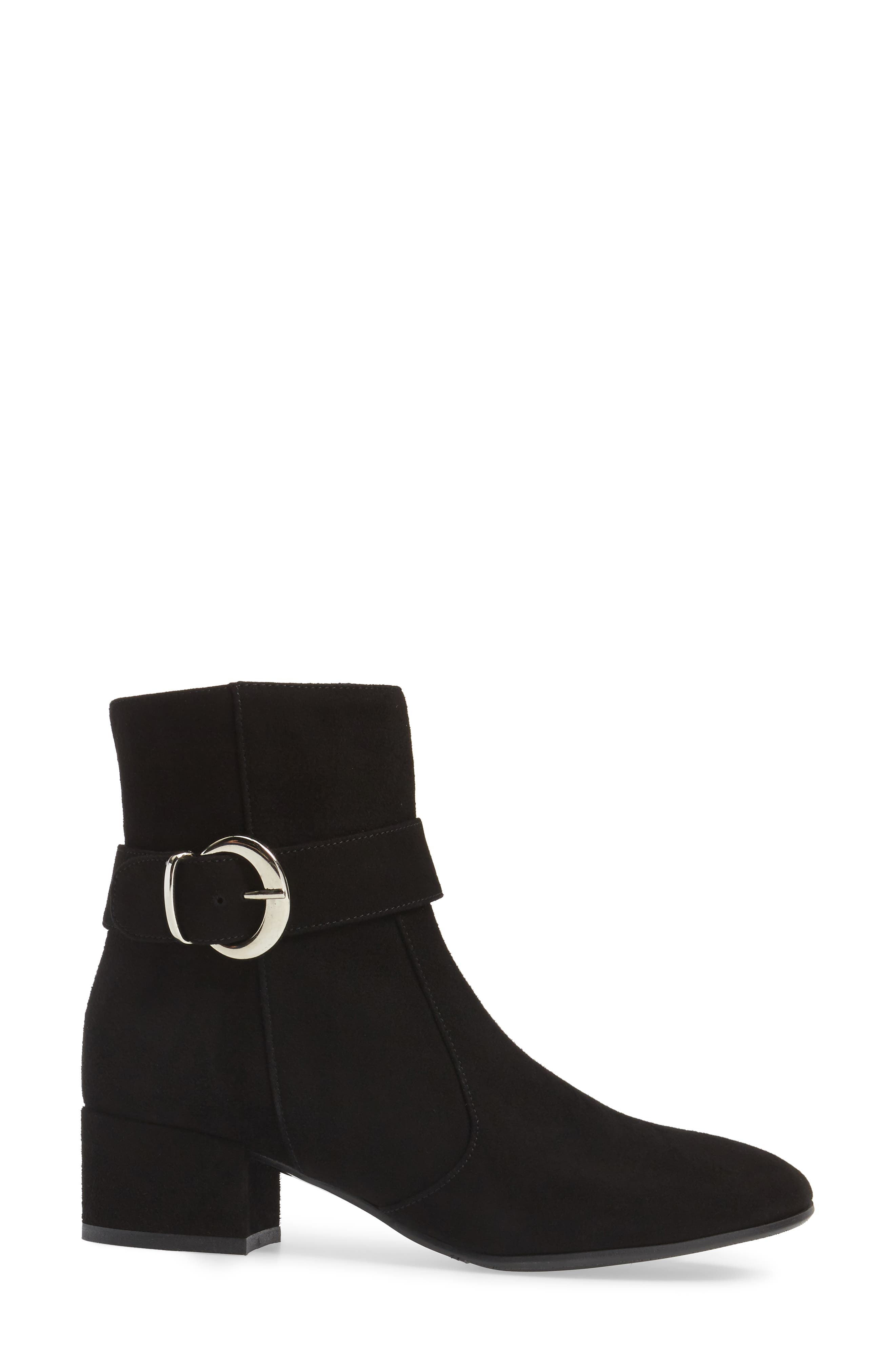 Maddie Buckle Strap Bootie,                             Alternate thumbnail 3, color,                             001