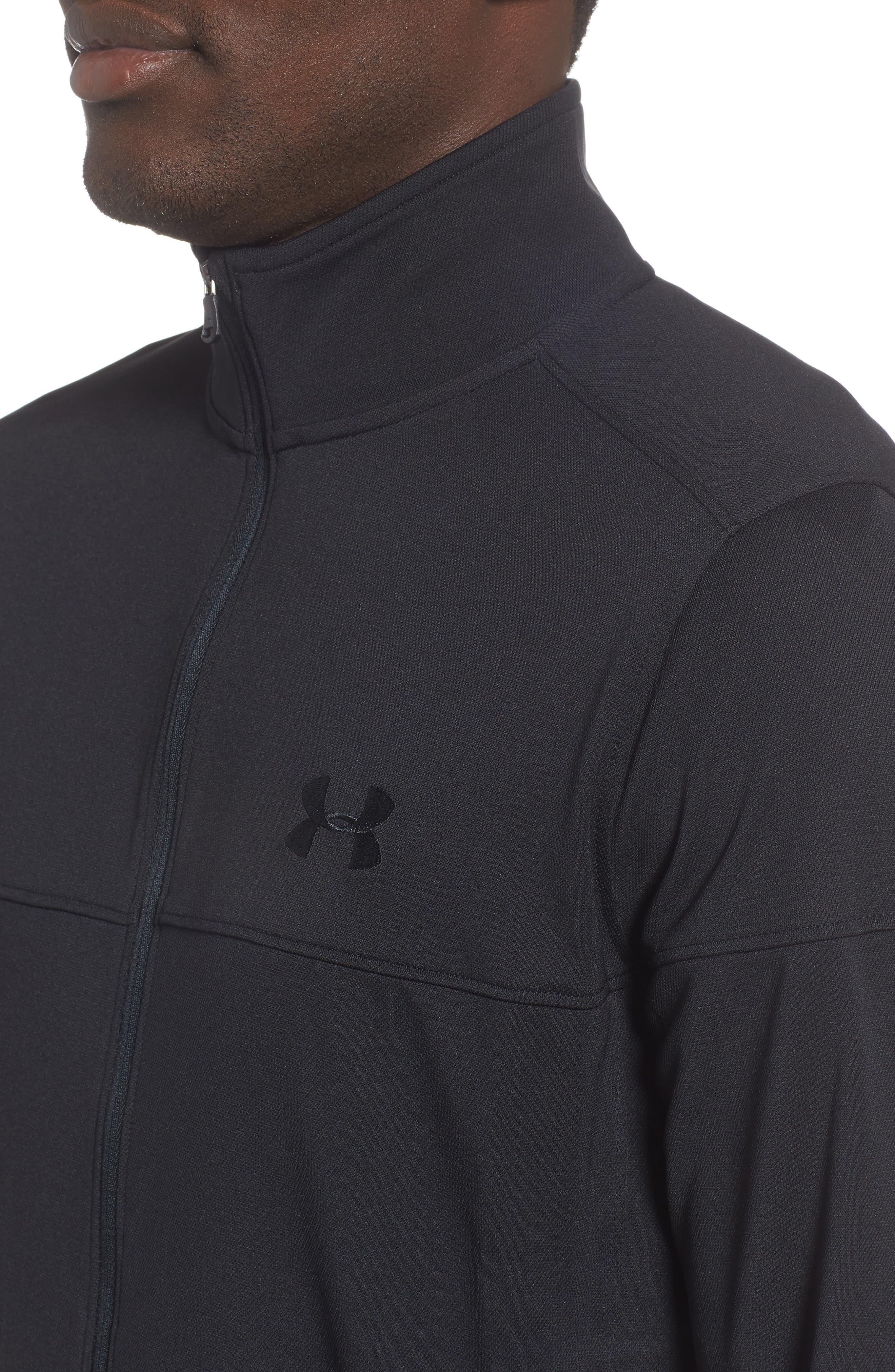 Sportstyle Piqué Track Jacket,                             Alternate thumbnail 4, color,                             BLACK / / BLACK