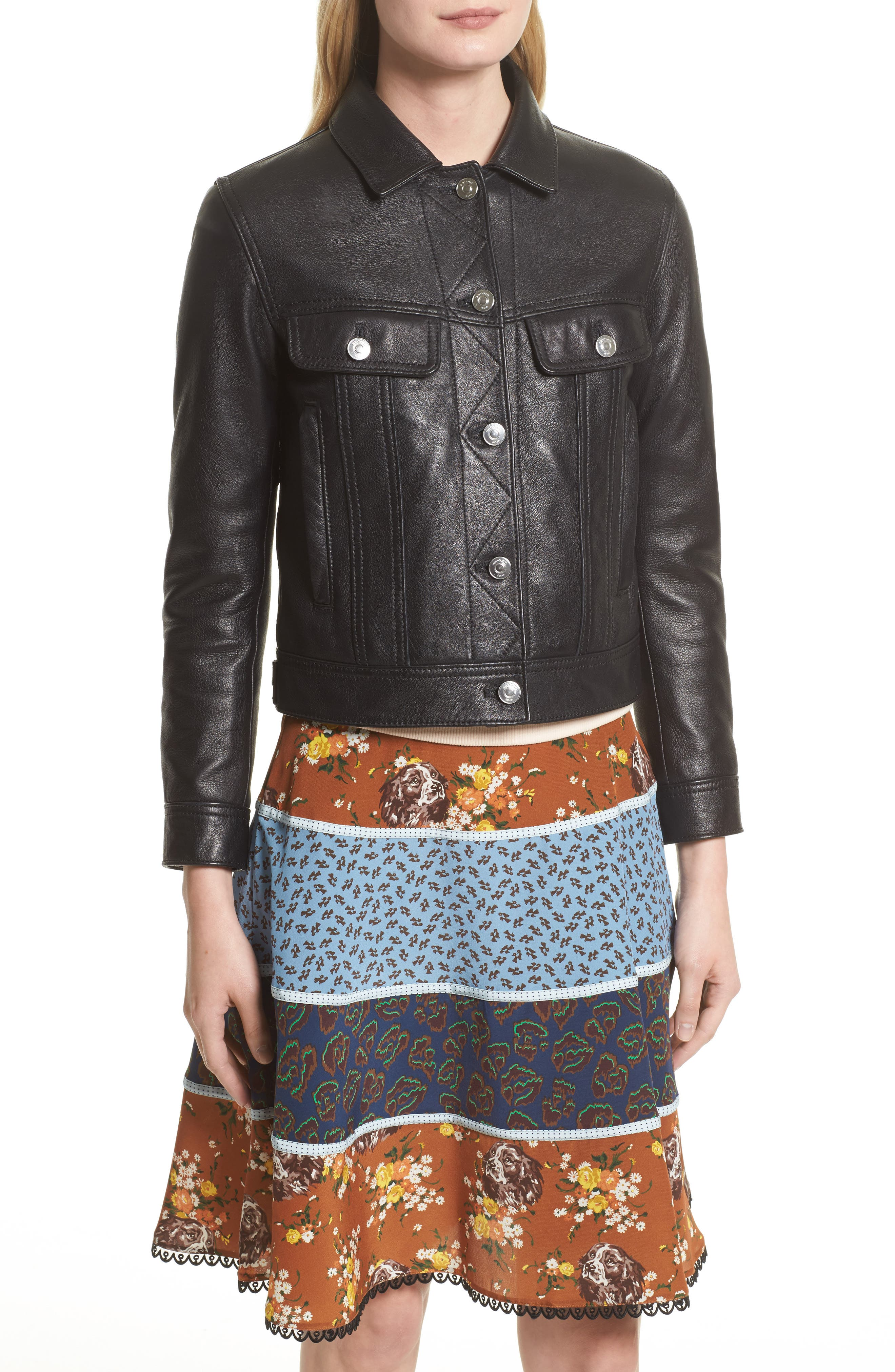 Leather Trucker Jacket with Removable Genuine Shearling Collar,                             Alternate thumbnail 2, color,