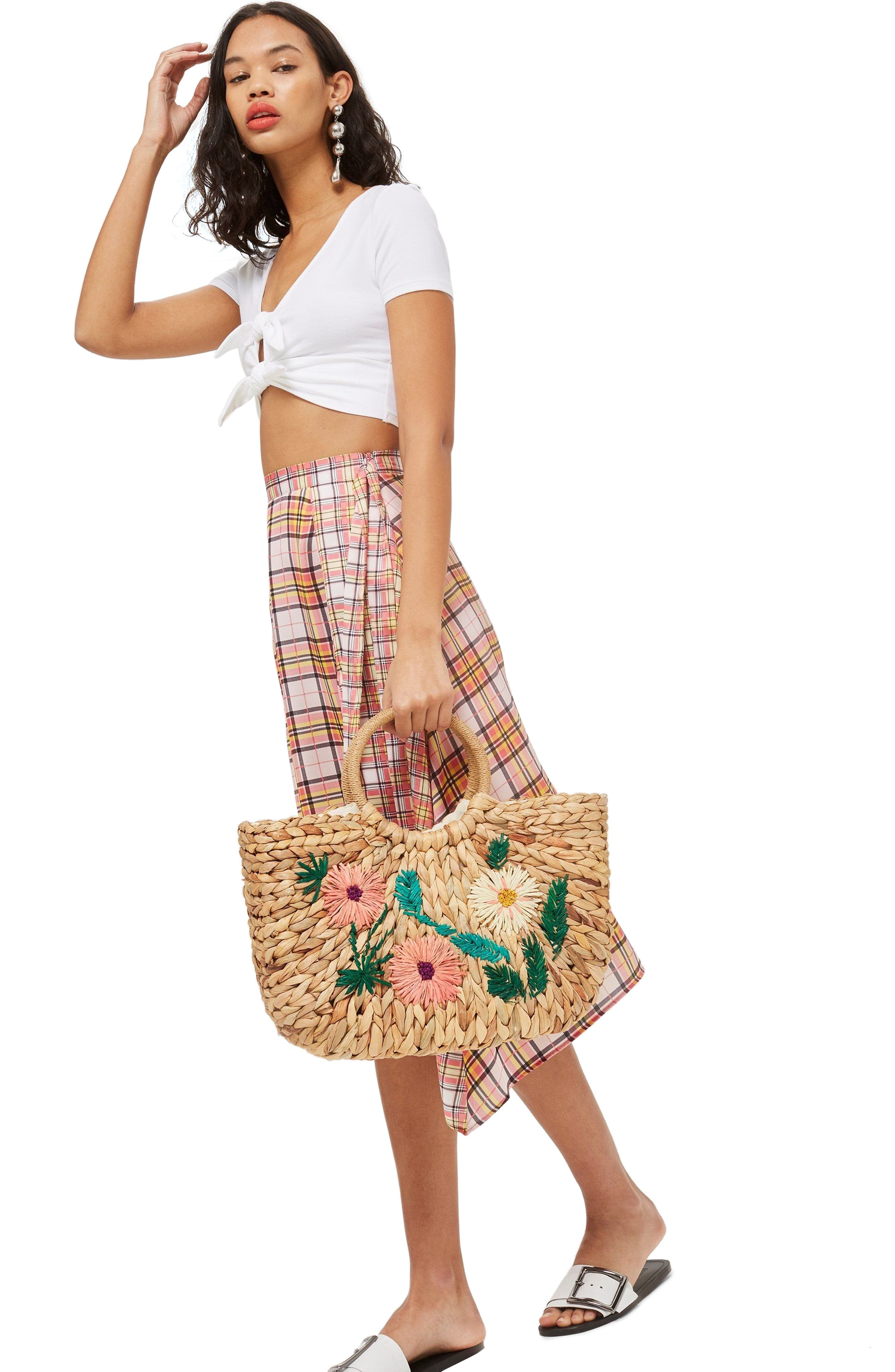 Beverly Floral Embroidered Straw Tote Bag,                             Alternate thumbnail 5, color,                             250