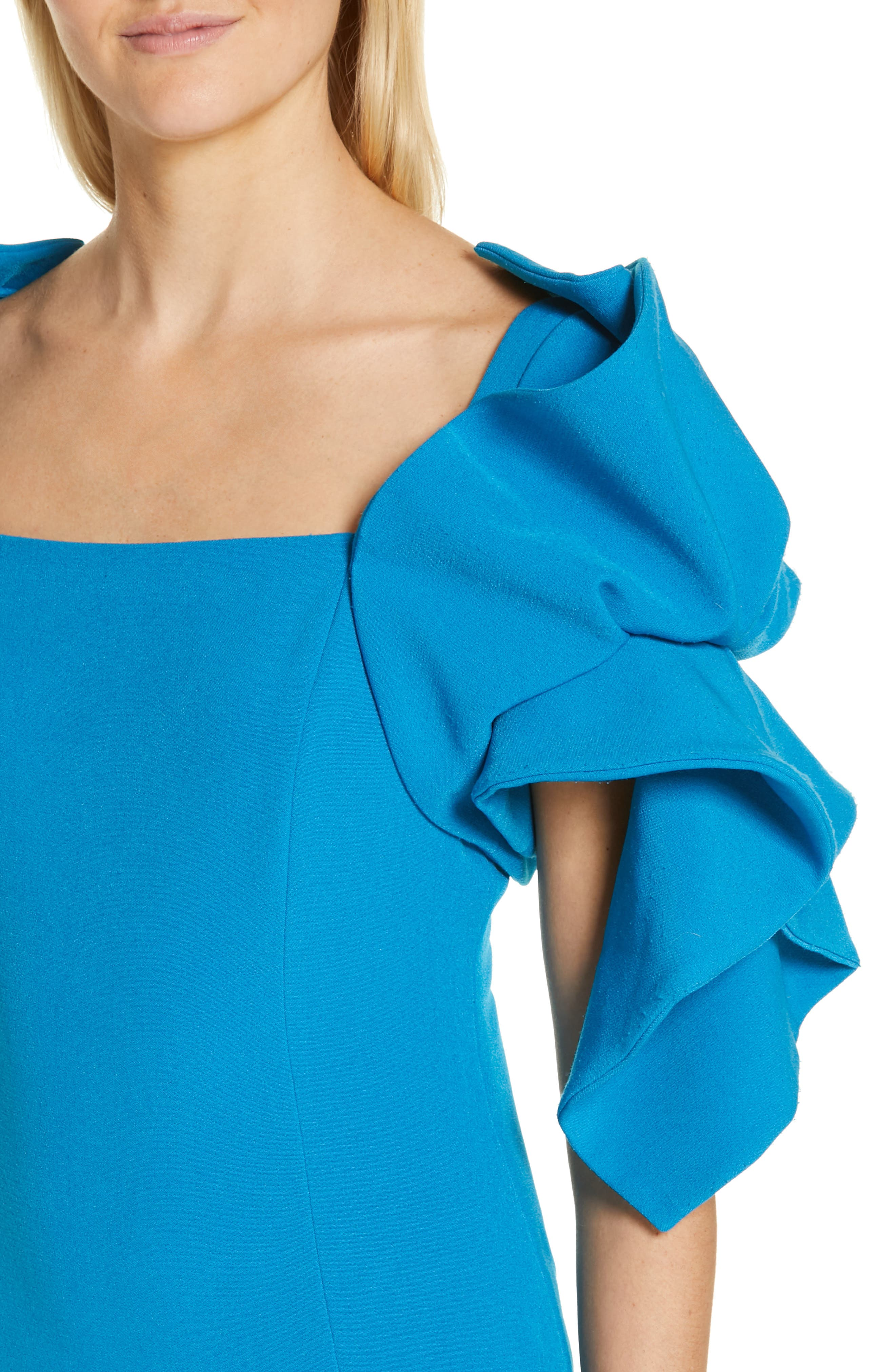 BADGLEY MISCHKA COLLECTION,                             Origami Sleeve Cocktail Dress,                             Alternate thumbnail 5, color,                             BRIGHT AQUA