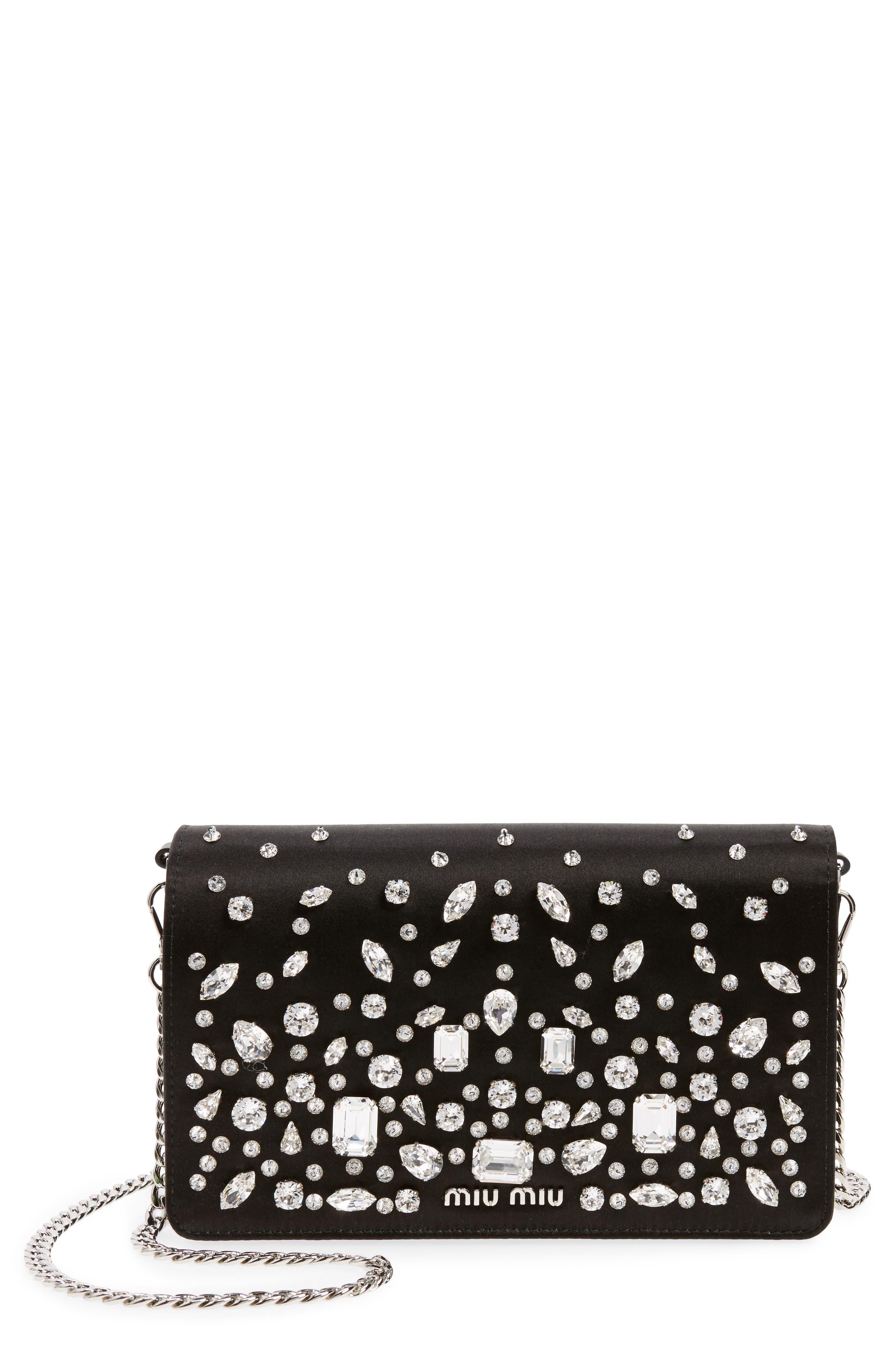 Swarovski Crystal Embellished Shoulder Bag,                             Main thumbnail 1, color,                             001