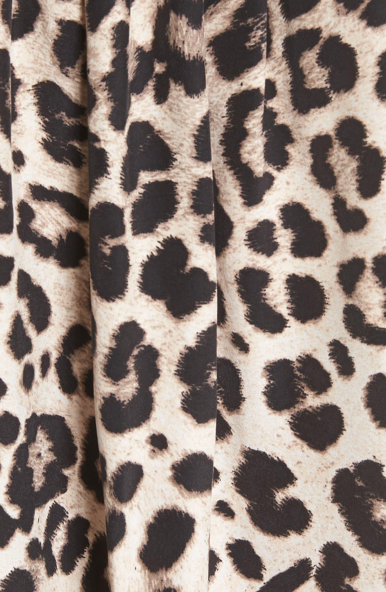 Amone Leopard Print Silk Top,                             Alternate thumbnail 5, color,
