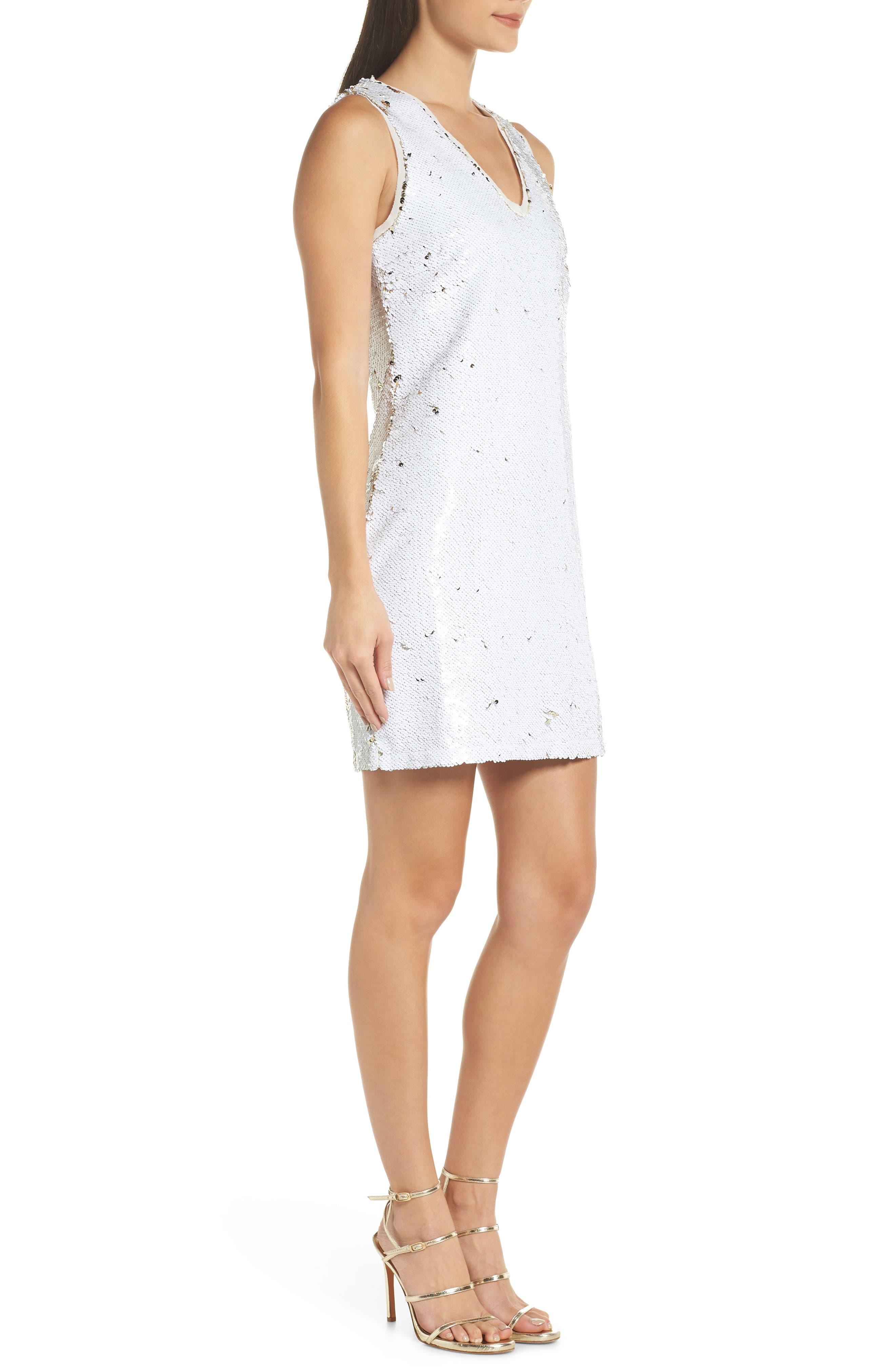 Double Sided Sequin Dress,                             Alternate thumbnail 4, color,                             WHITE MULTI