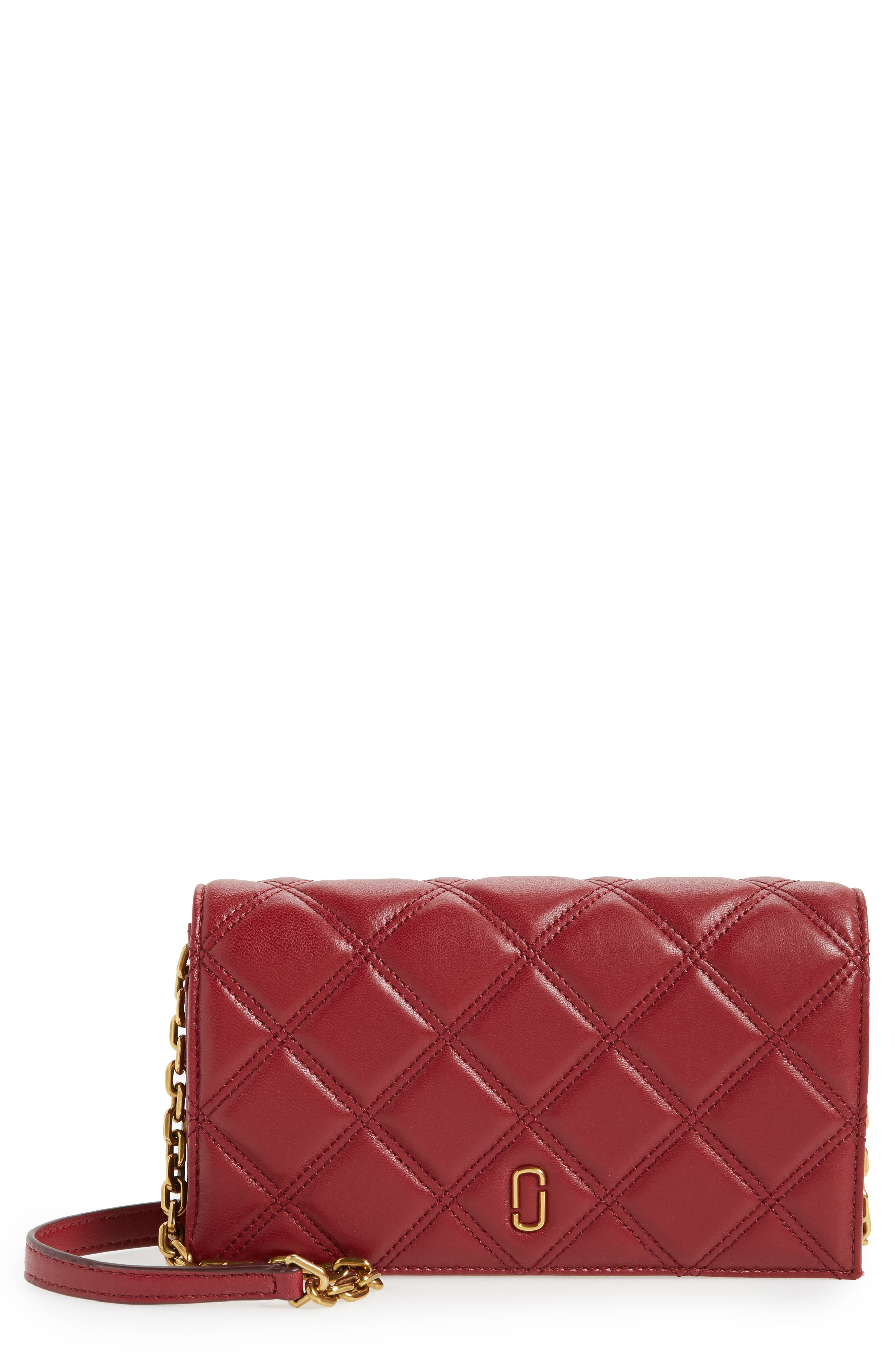 Quilted Leather Wallet on a Chain,                             Main thumbnail 1, color,                             930