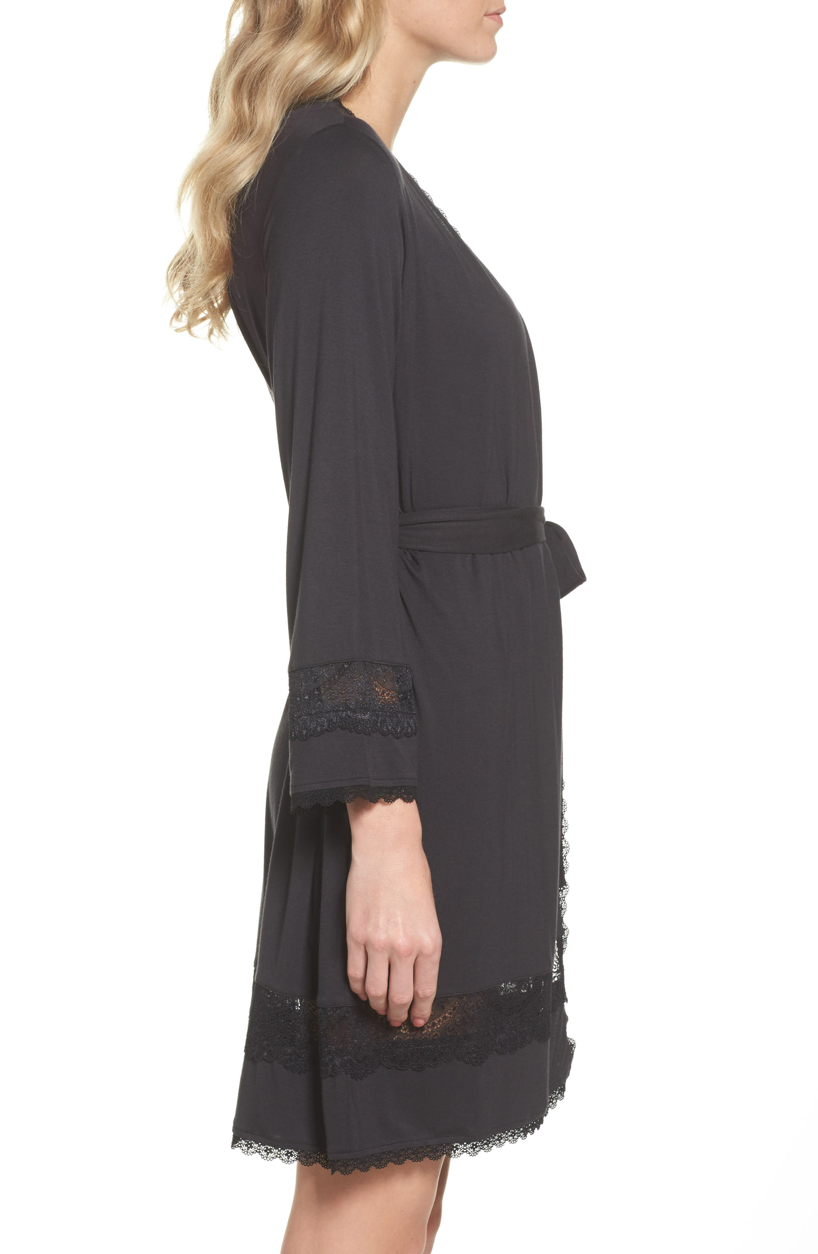Cosima Embellished Robe,                             Alternate thumbnail 3, color,                             BLACK