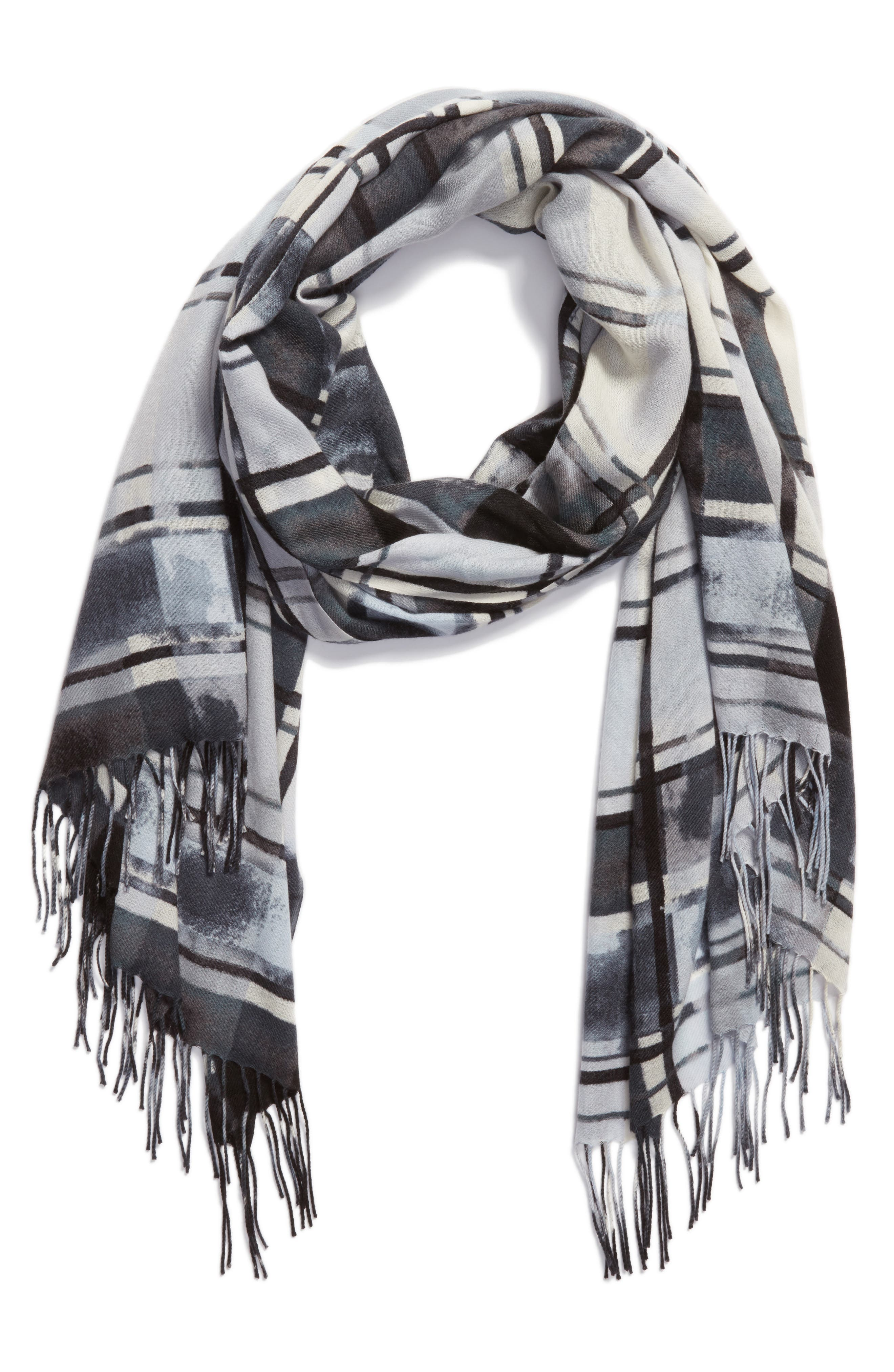 Handicraft Plaid Tissue Weight Wool & Cashmere Scarf,                             Alternate thumbnail 2, color,                             020