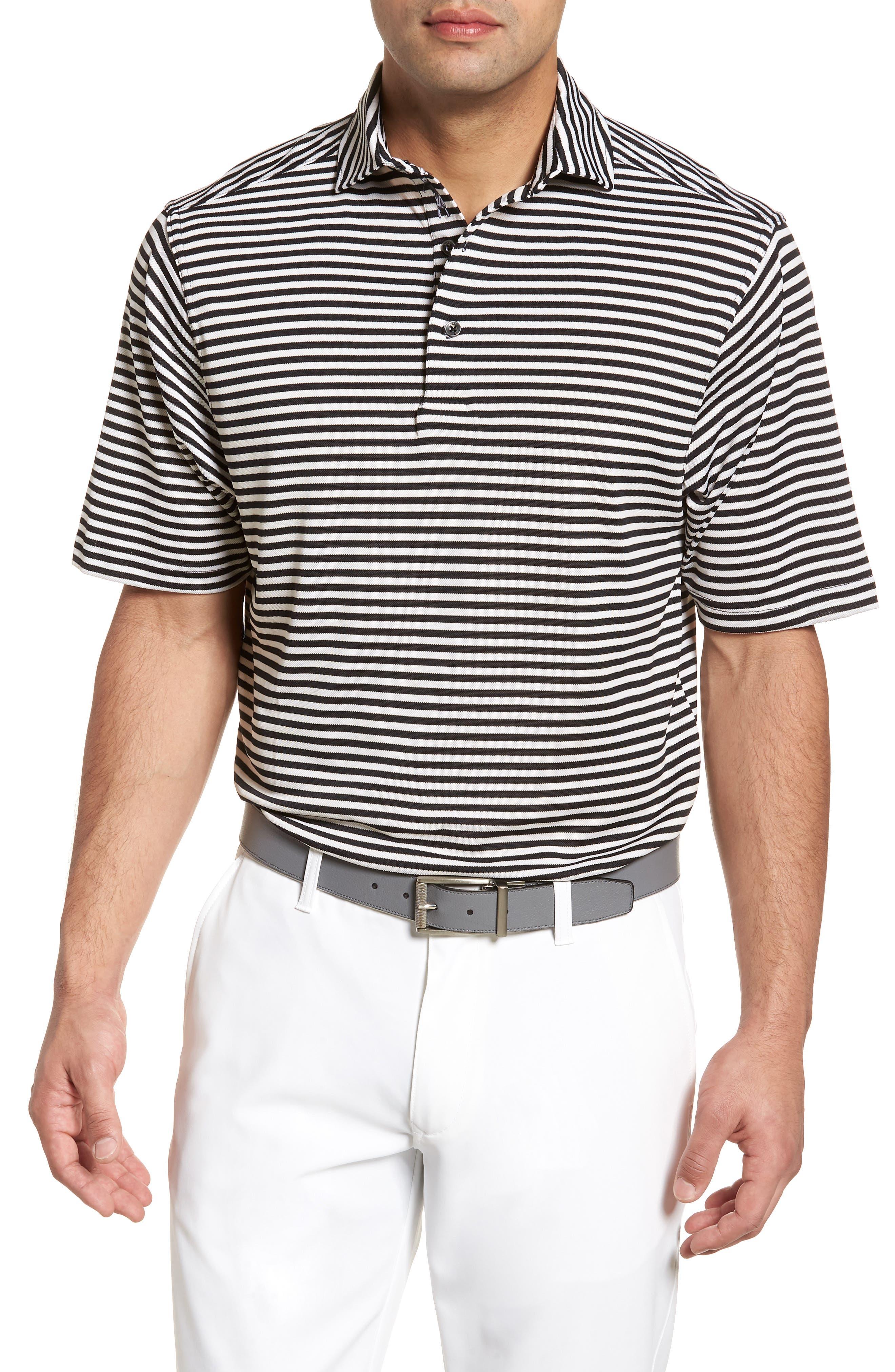 XH2O Feed Stripe Stretch Golf Polo,                         Main,                         color, 001