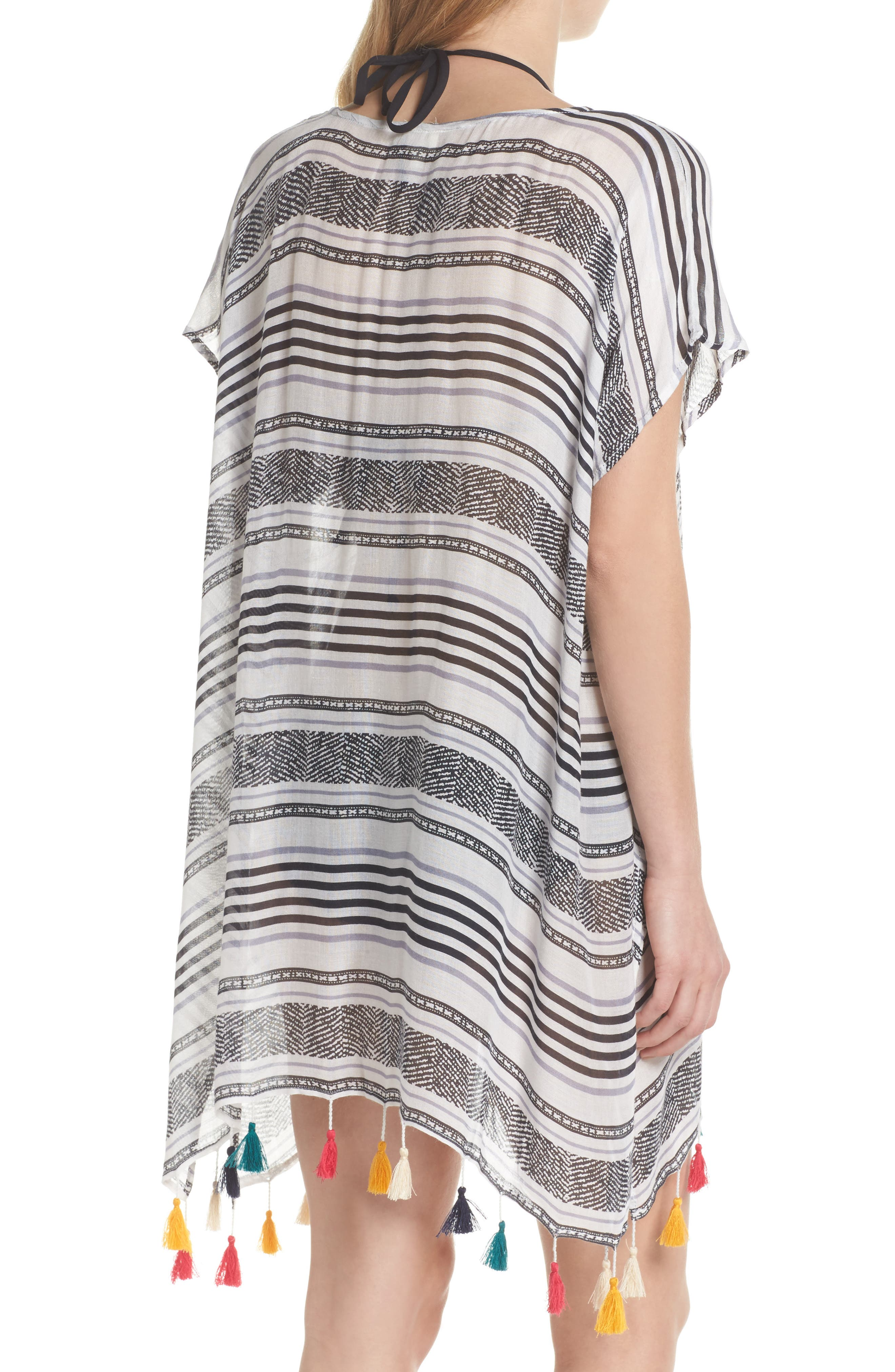 SURF GYPSY,                             Stripe Tassel Cover-Up Tunic,                             Alternate thumbnail 2, color,                             020
