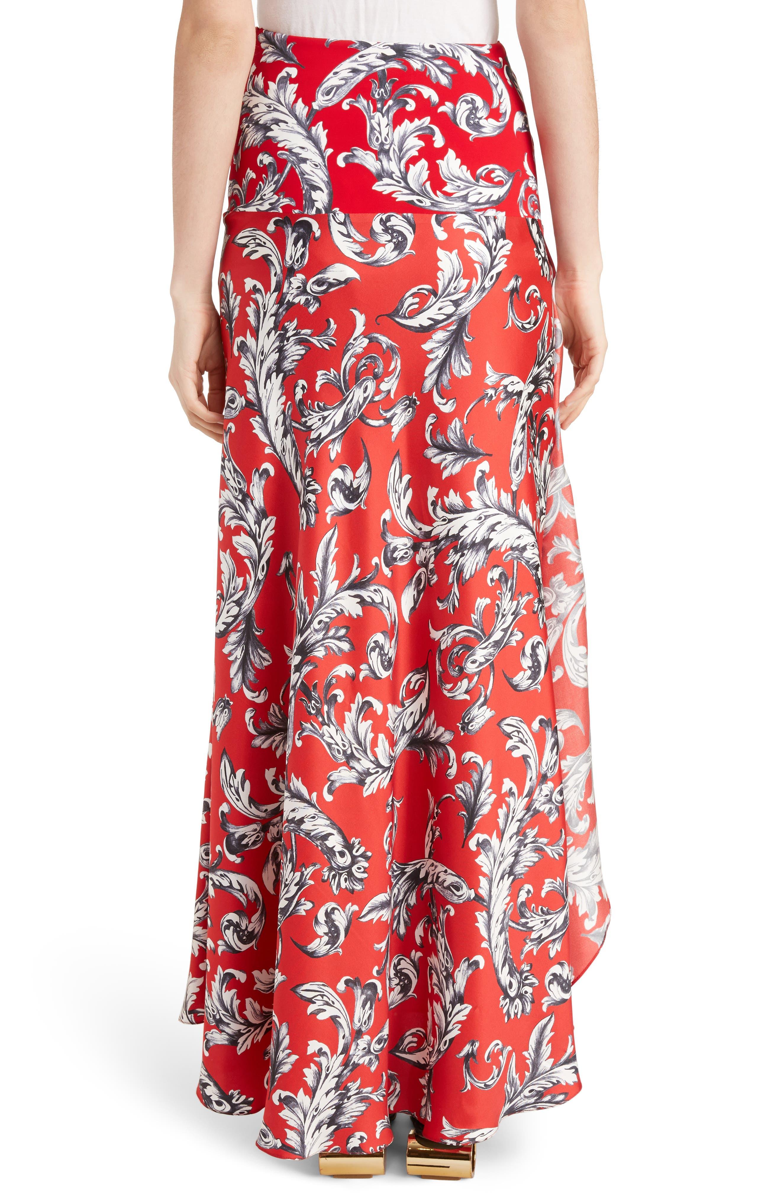 J.W.ANDERSON Filigree Print Asymmetrical Maxi Skirt,                             Alternate thumbnail 2, color,