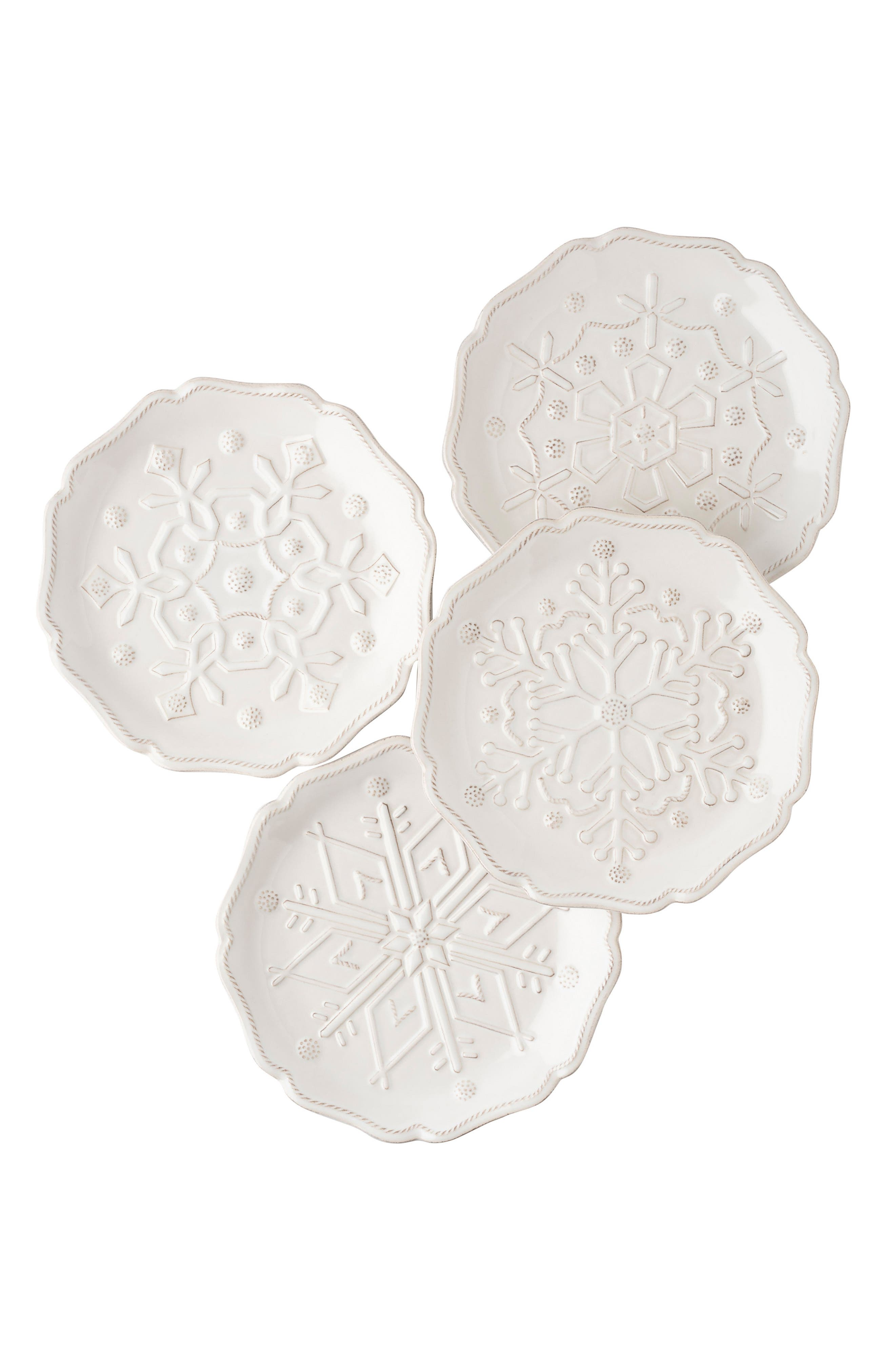 Snowfall Whitewash Set of 4 Ceramic Tidbit Plates,                         Main,                         color, 100