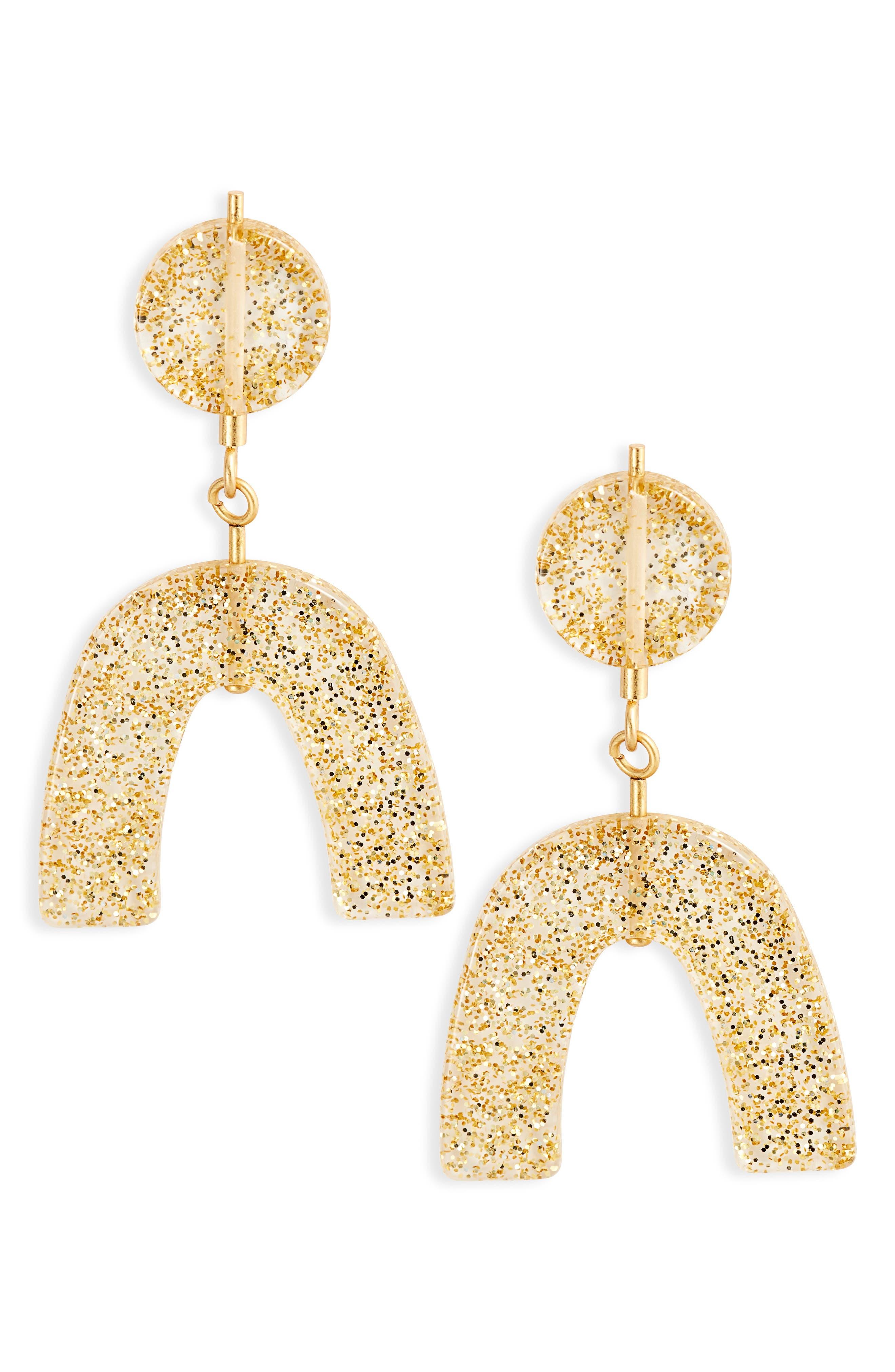 Glitter Shapes Statement Earrings,                             Main thumbnail 1, color,                             GOLD GLITTER
