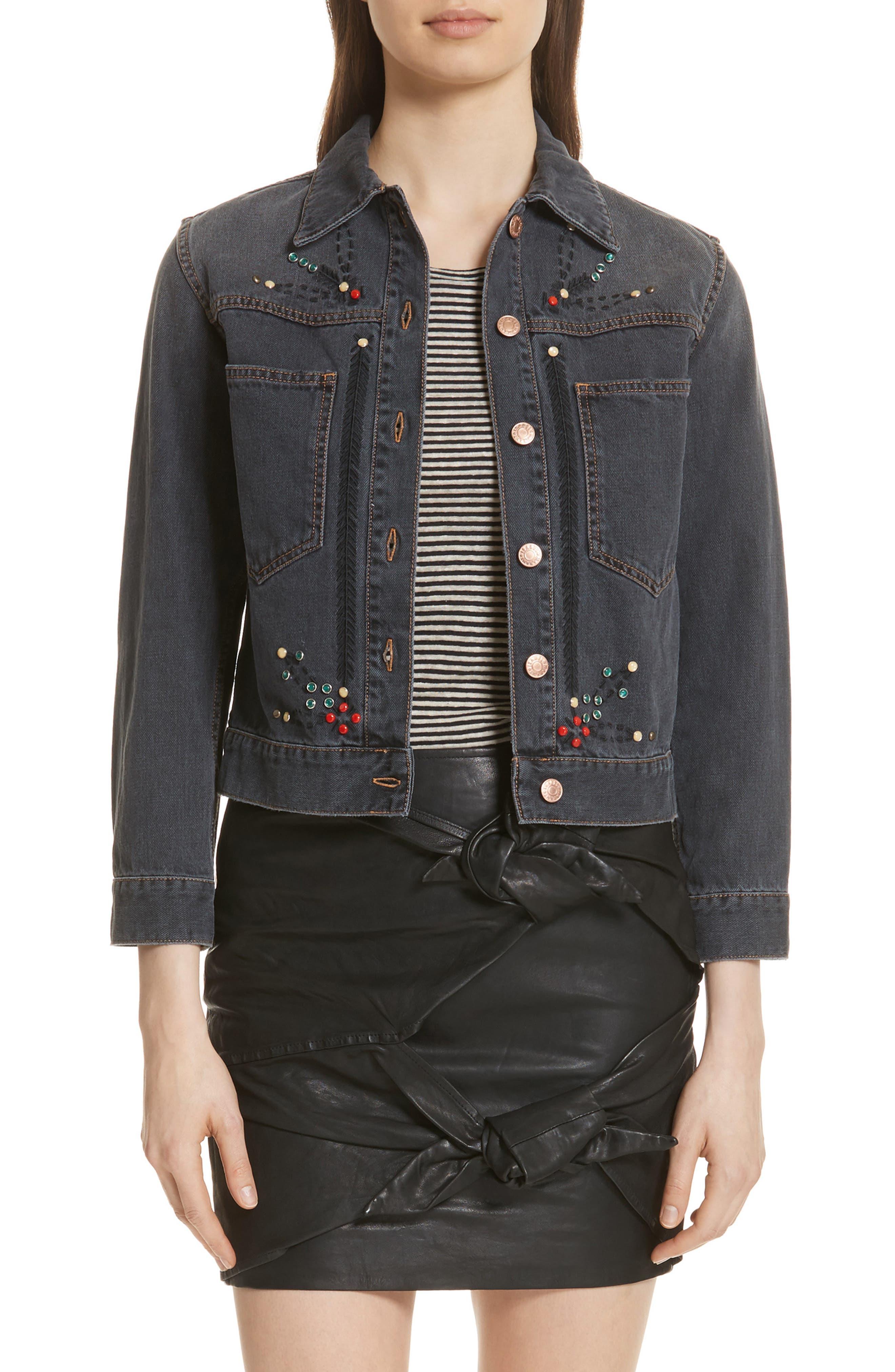 Isabel Marant Étoile Cabella Embellished Denim Jacket,                         Main,                         color,