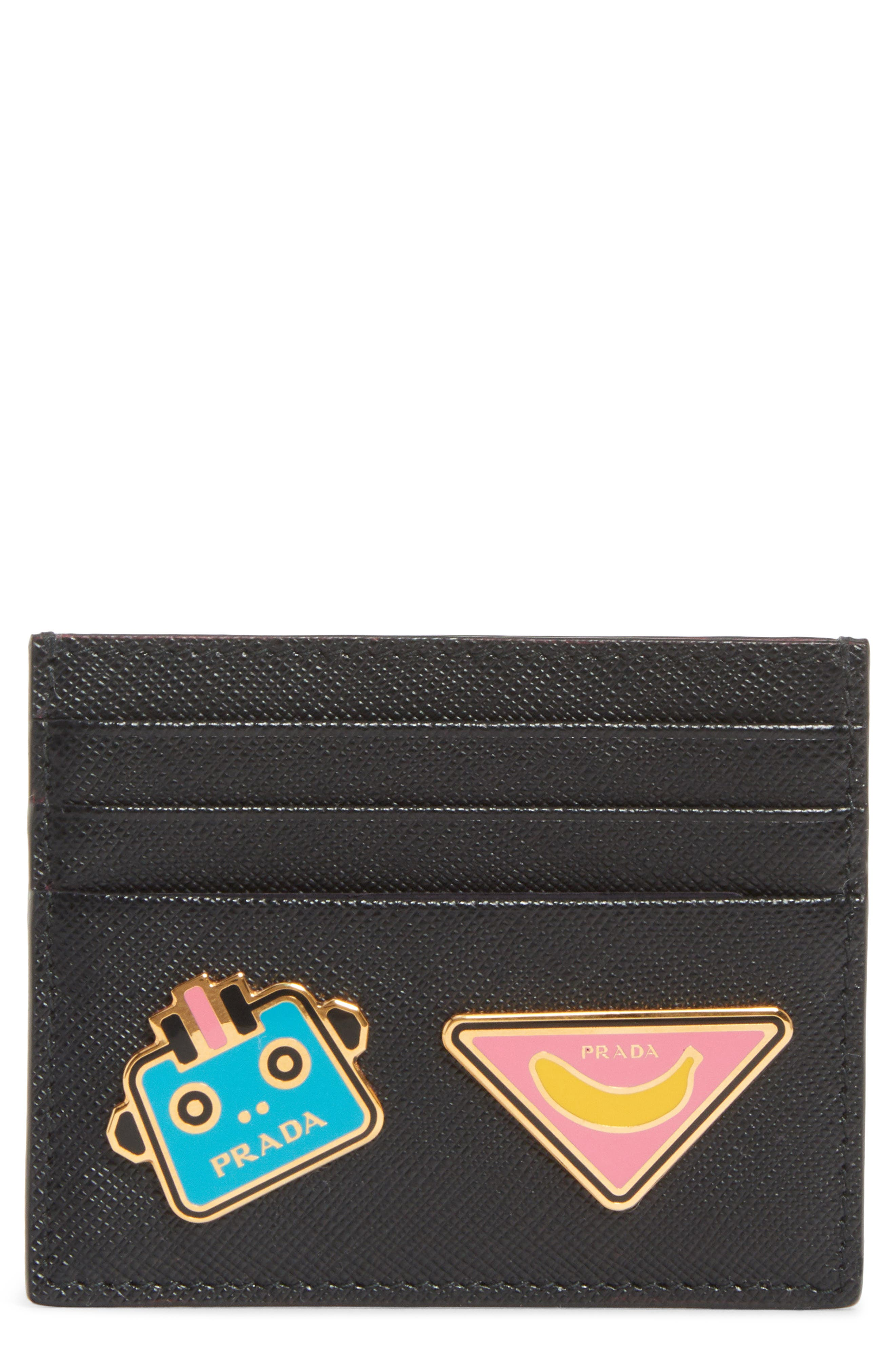 Embellished Saffiano Leather Card Case,                             Main thumbnail 1, color,                             001