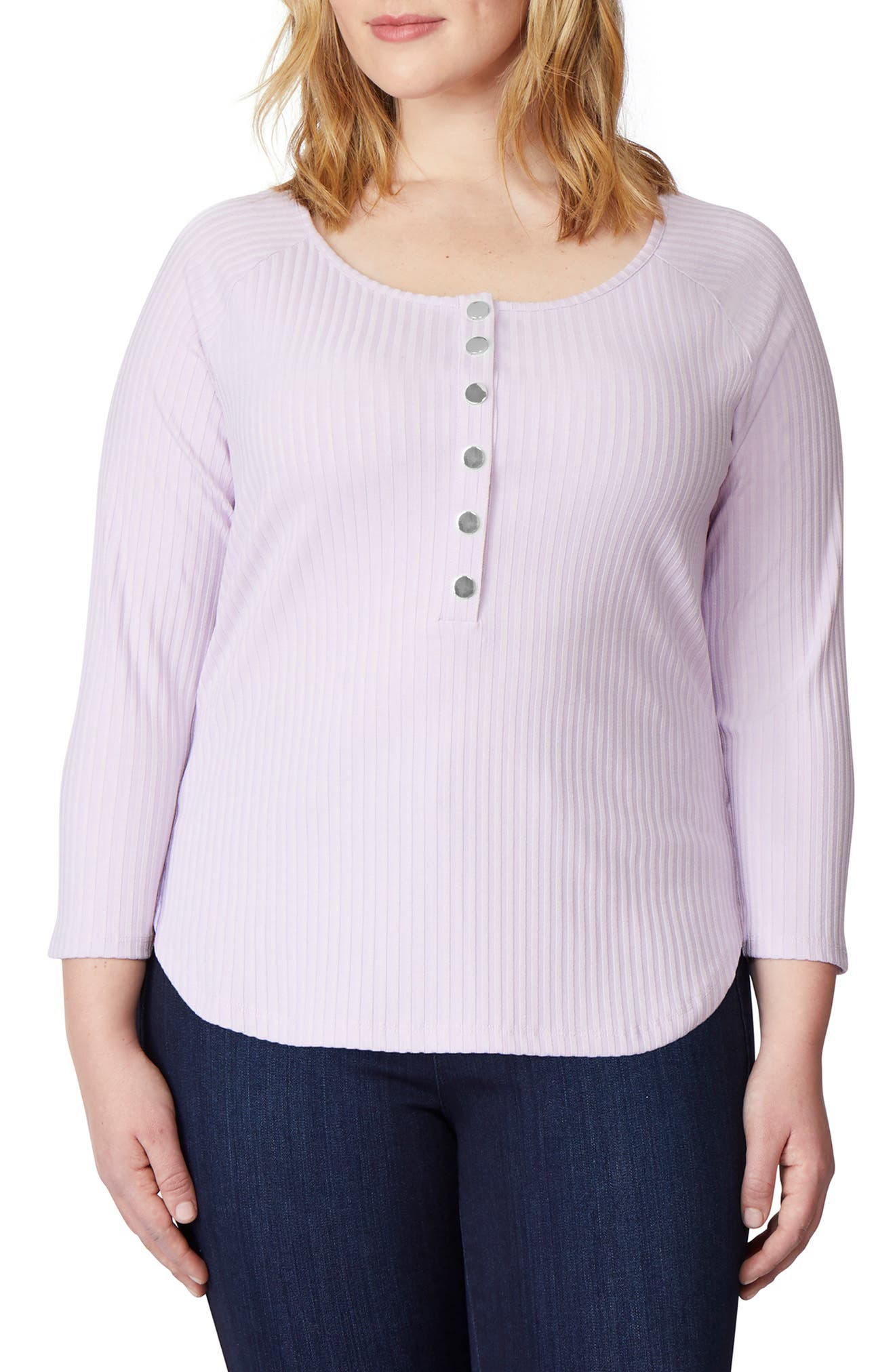 REBEL WILSON X ANGELS Rib Knit Henley Top in Orchid