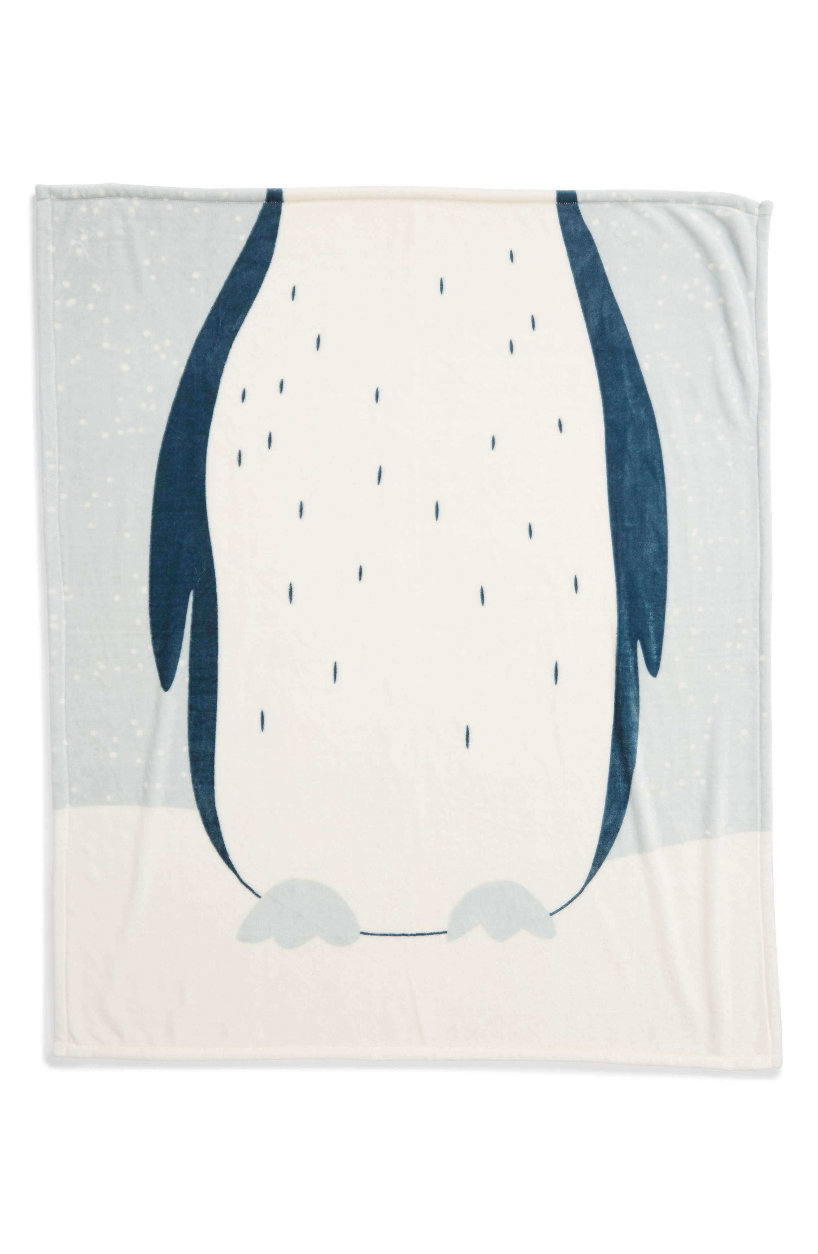 NORDSTROM AT HOME,                             Penguin Suit Plush Throw,                             Alternate thumbnail 3, color,                             TEAL MIST PENGUIN