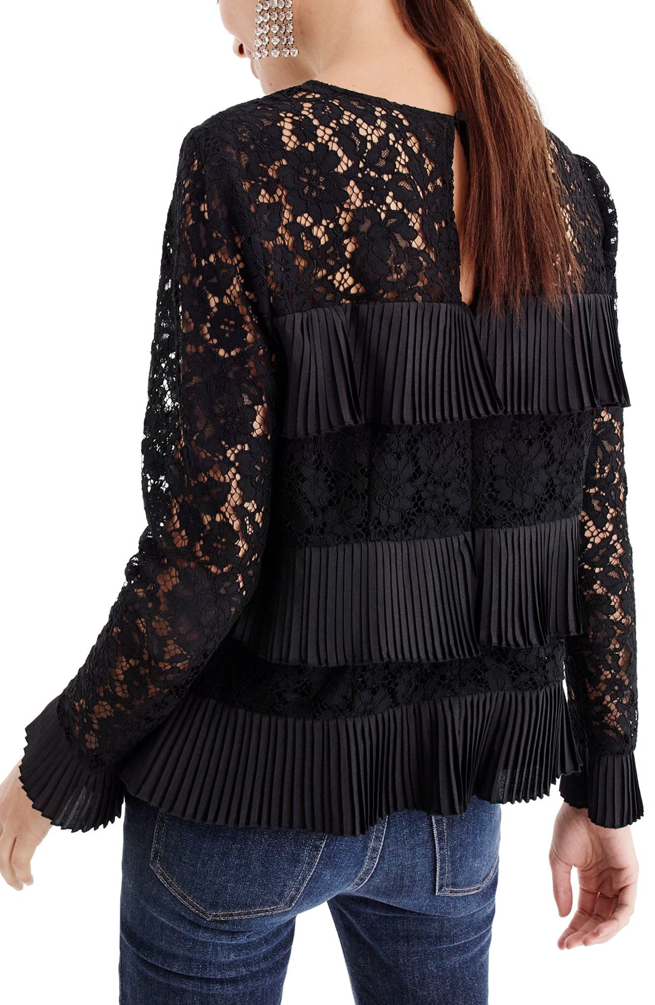 Pleated Lace Top,                             Alternate thumbnail 2, color,                             BLACK