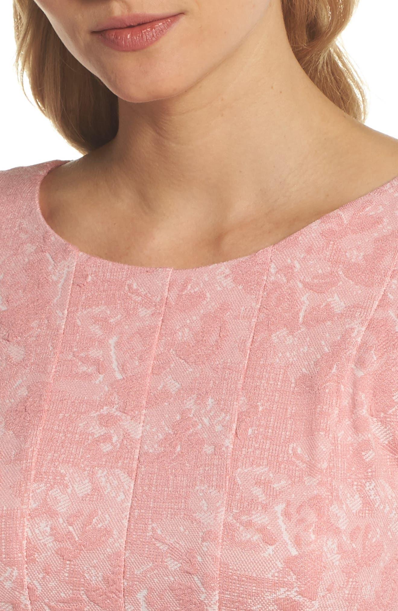 Jacquard Knit Fit & Flare Dress,                             Alternate thumbnail 4, color,                             651