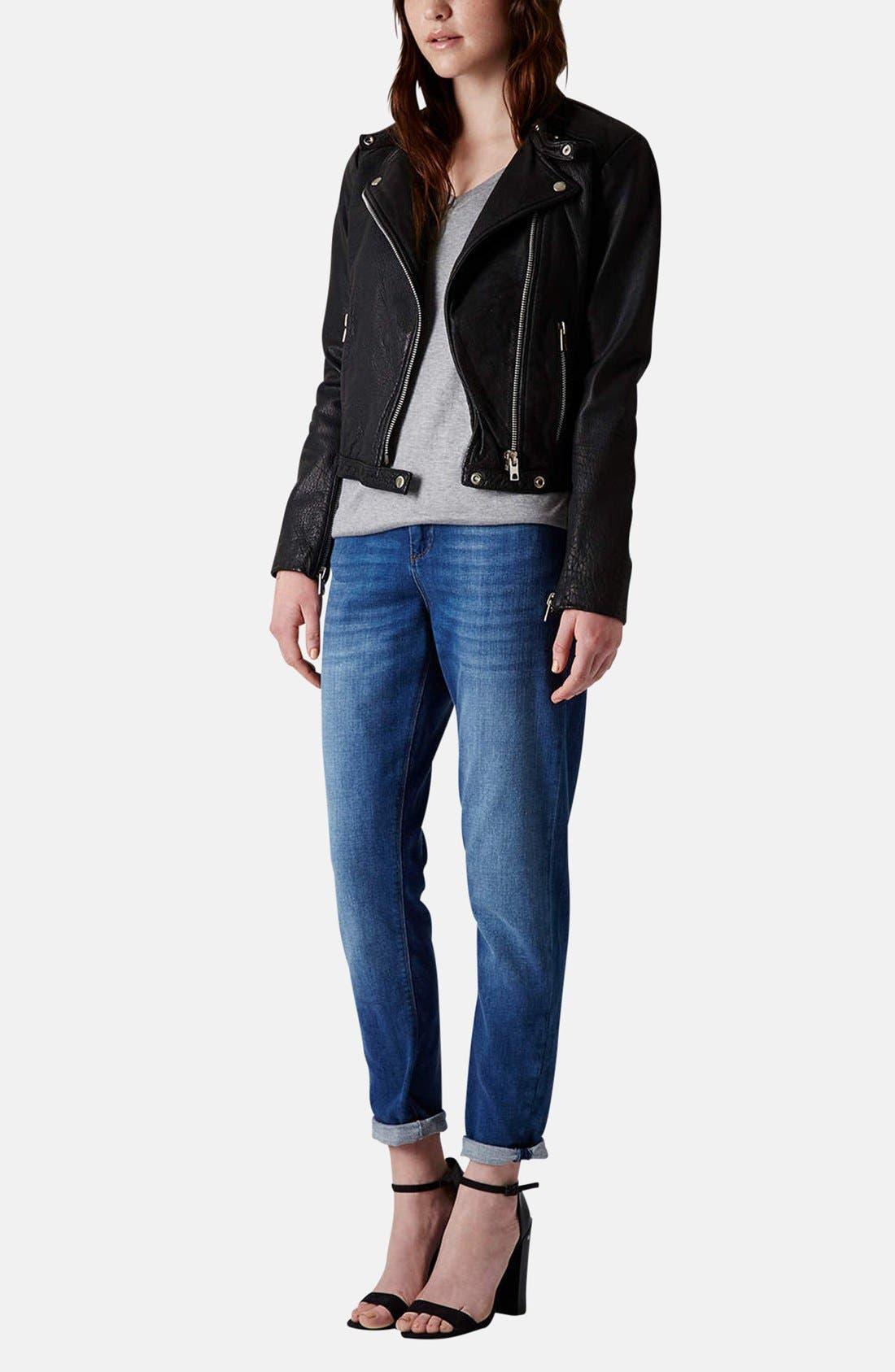 Collarless Leather Biker Jacket,                             Alternate thumbnail 4, color,                             001