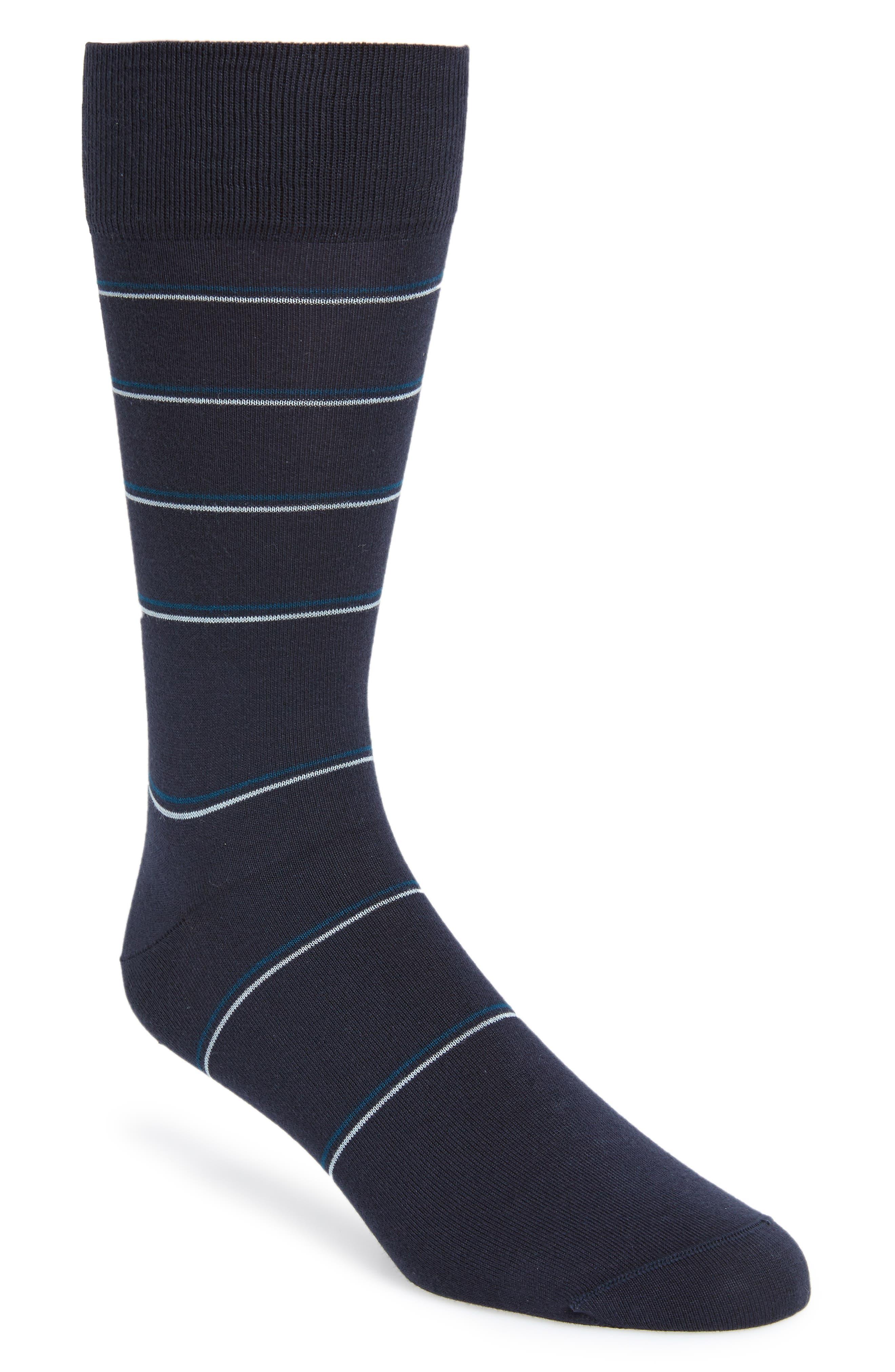 Stripe Socks,                         Main,                         color, NAVY HEATHER/ WHITE