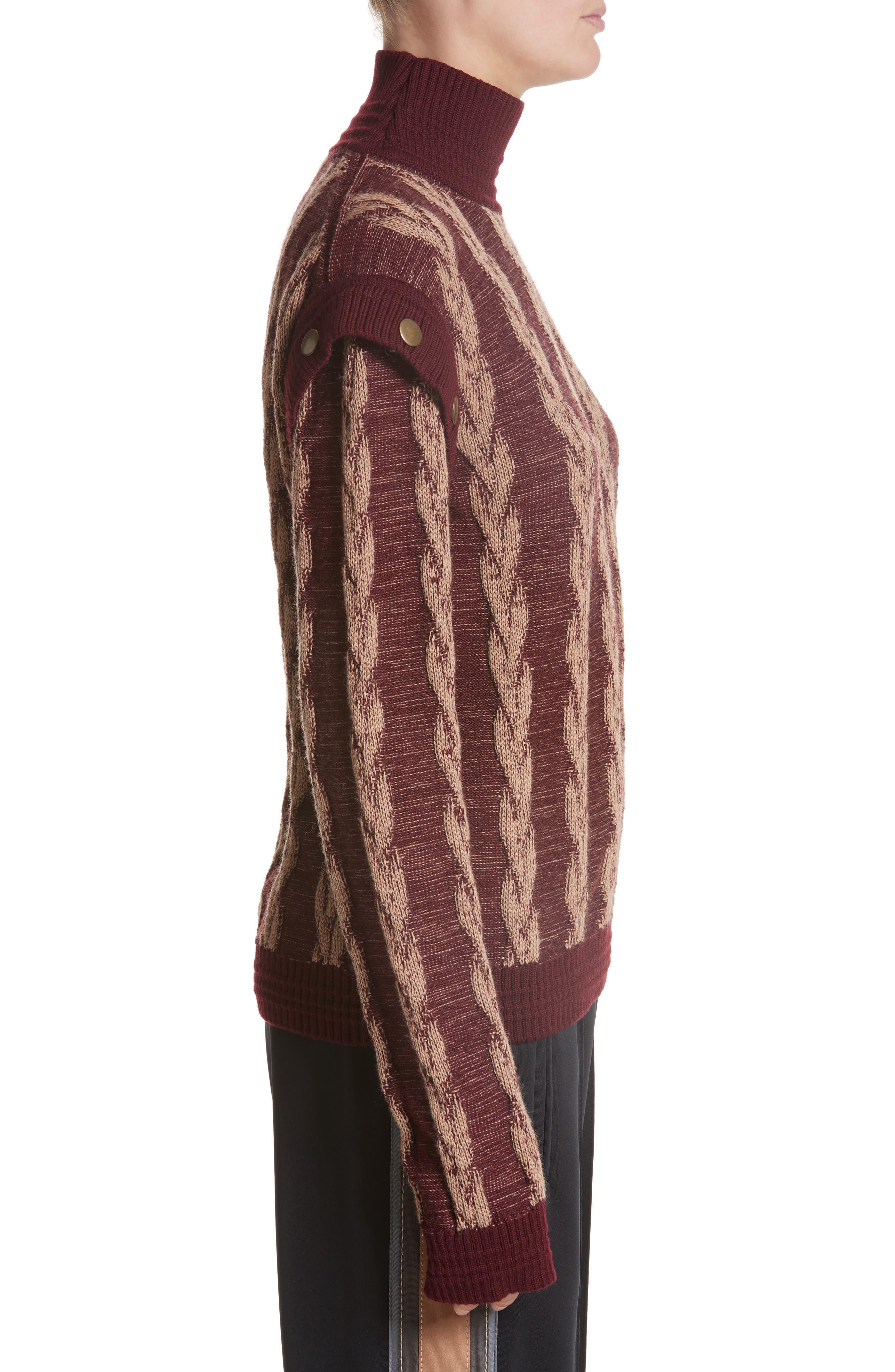 Cable Knit Turtleneck Sweater,                             Alternate thumbnail 3, color,                             930