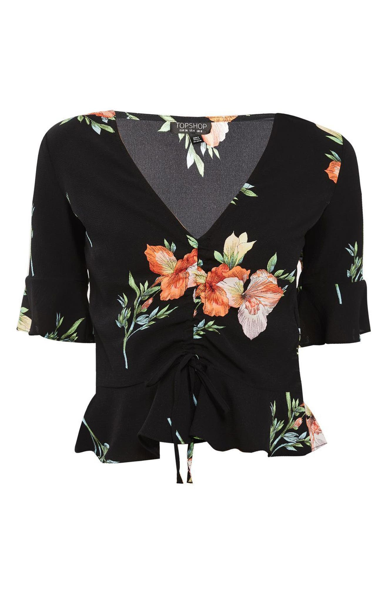 Sunset Iris Ruched Blouse,                             Alternate thumbnail 3, color,                             001
