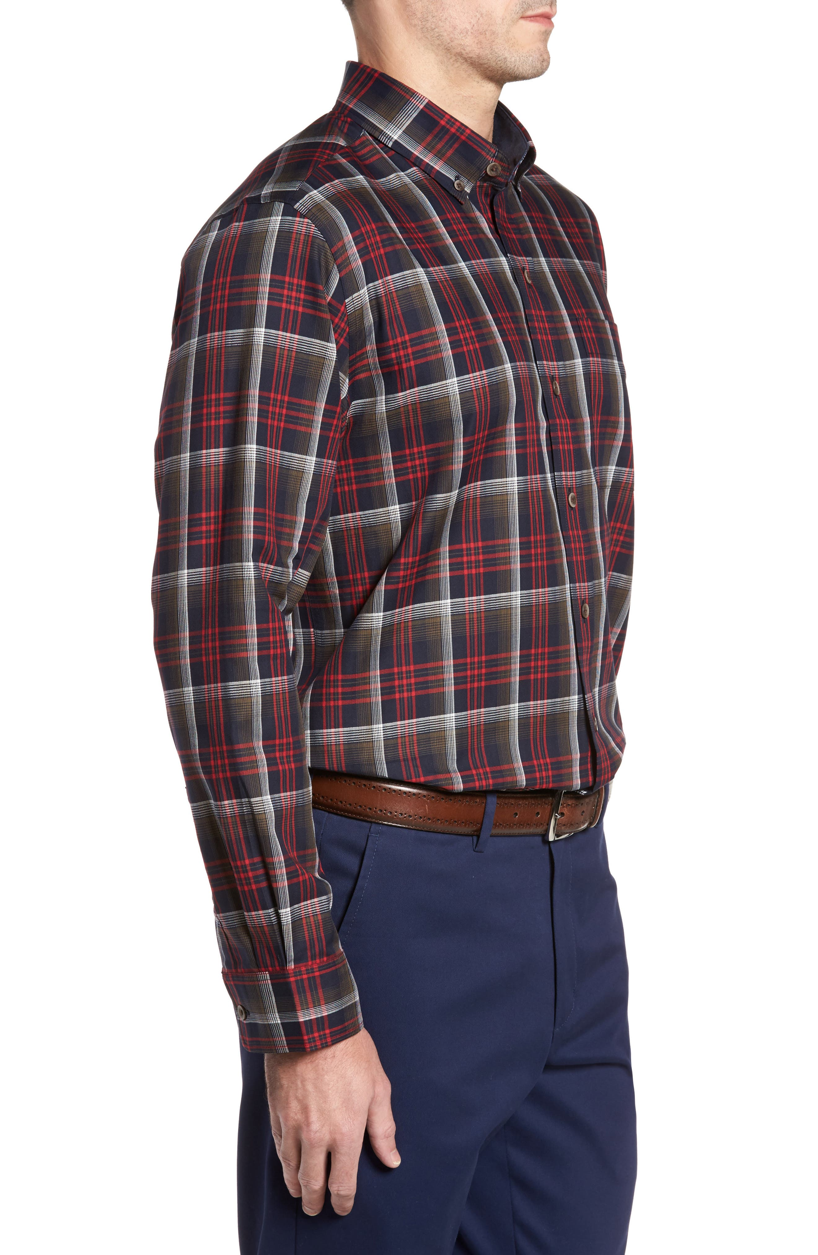 Dry Creek Non-Iron Plaid Sport Shirt,                             Alternate thumbnail 3, color,                             622