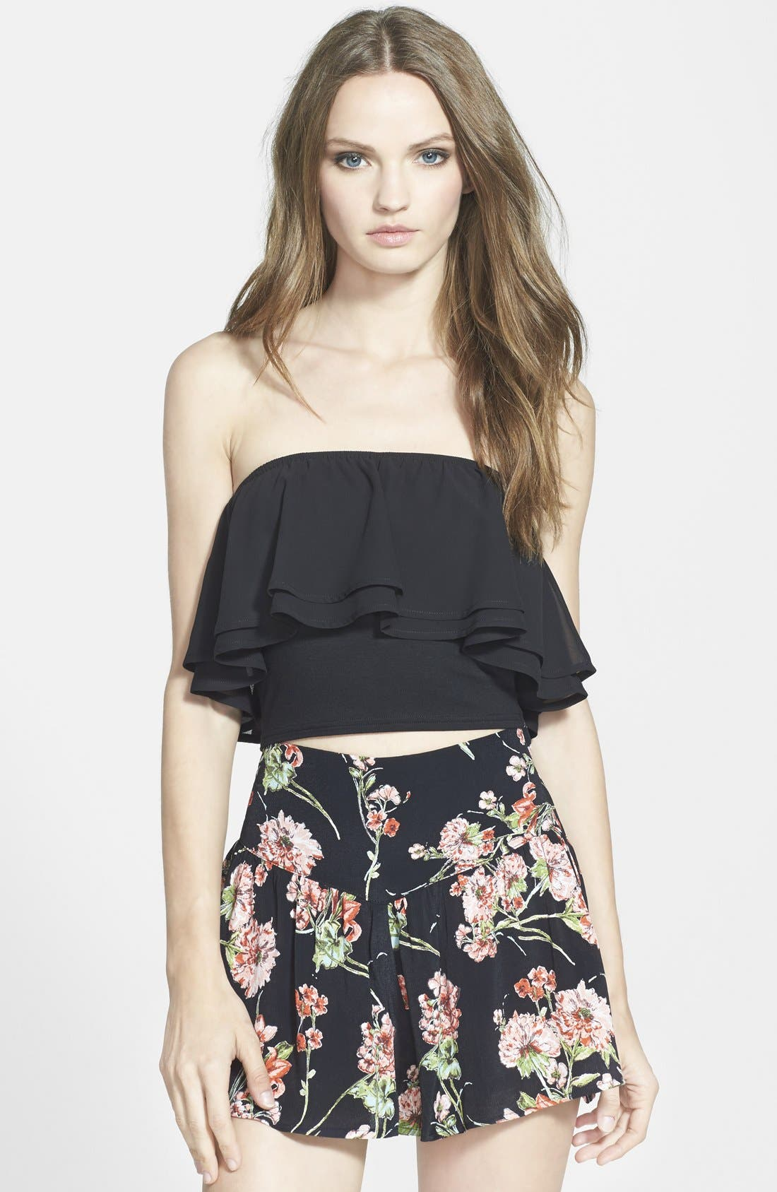 LEITH Ruffled Chiffon Tube Top, Main, color, 001