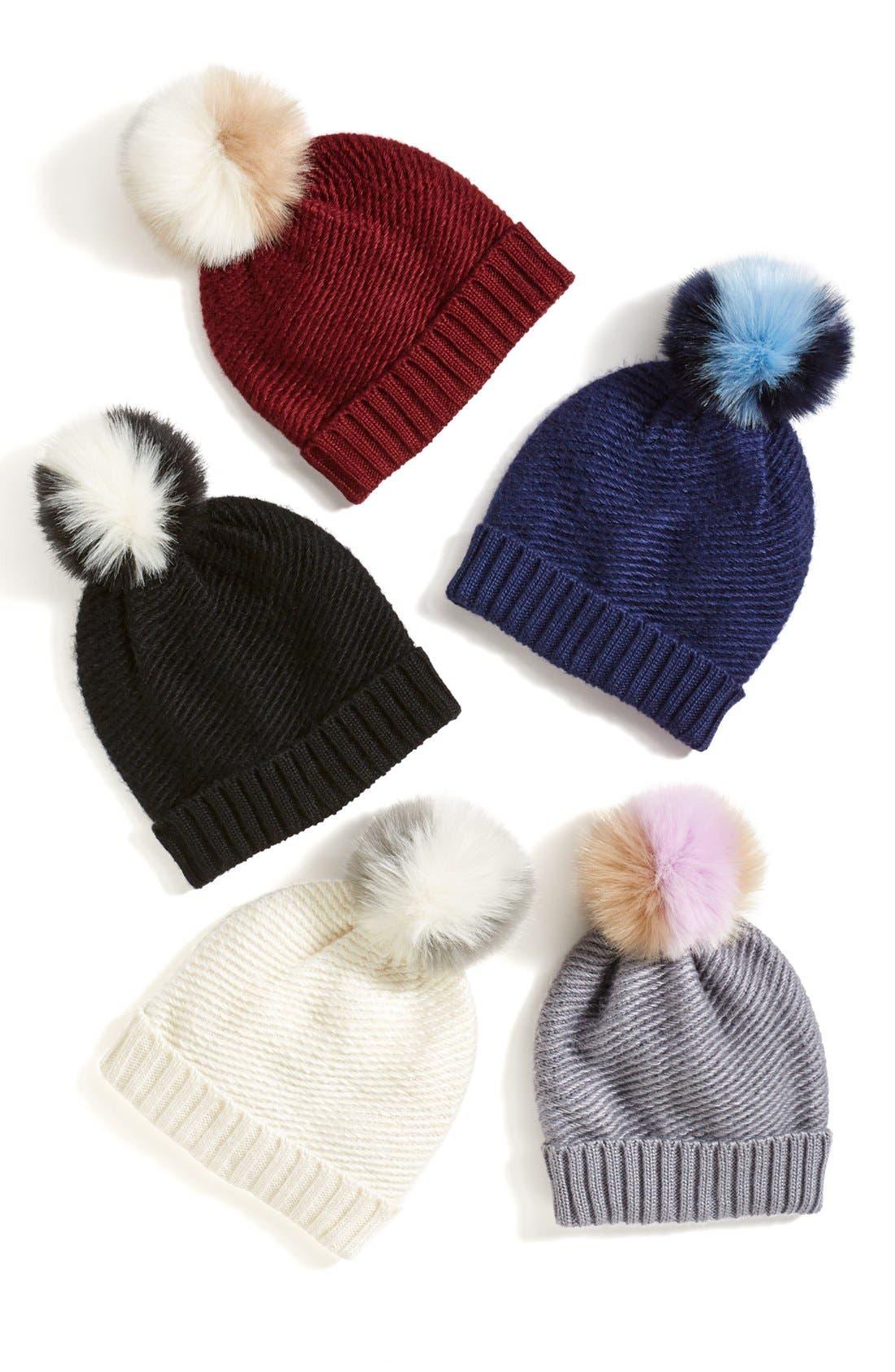Faux Fur Pompom Knit Beanie,                             Alternate thumbnail 3, color,                             020