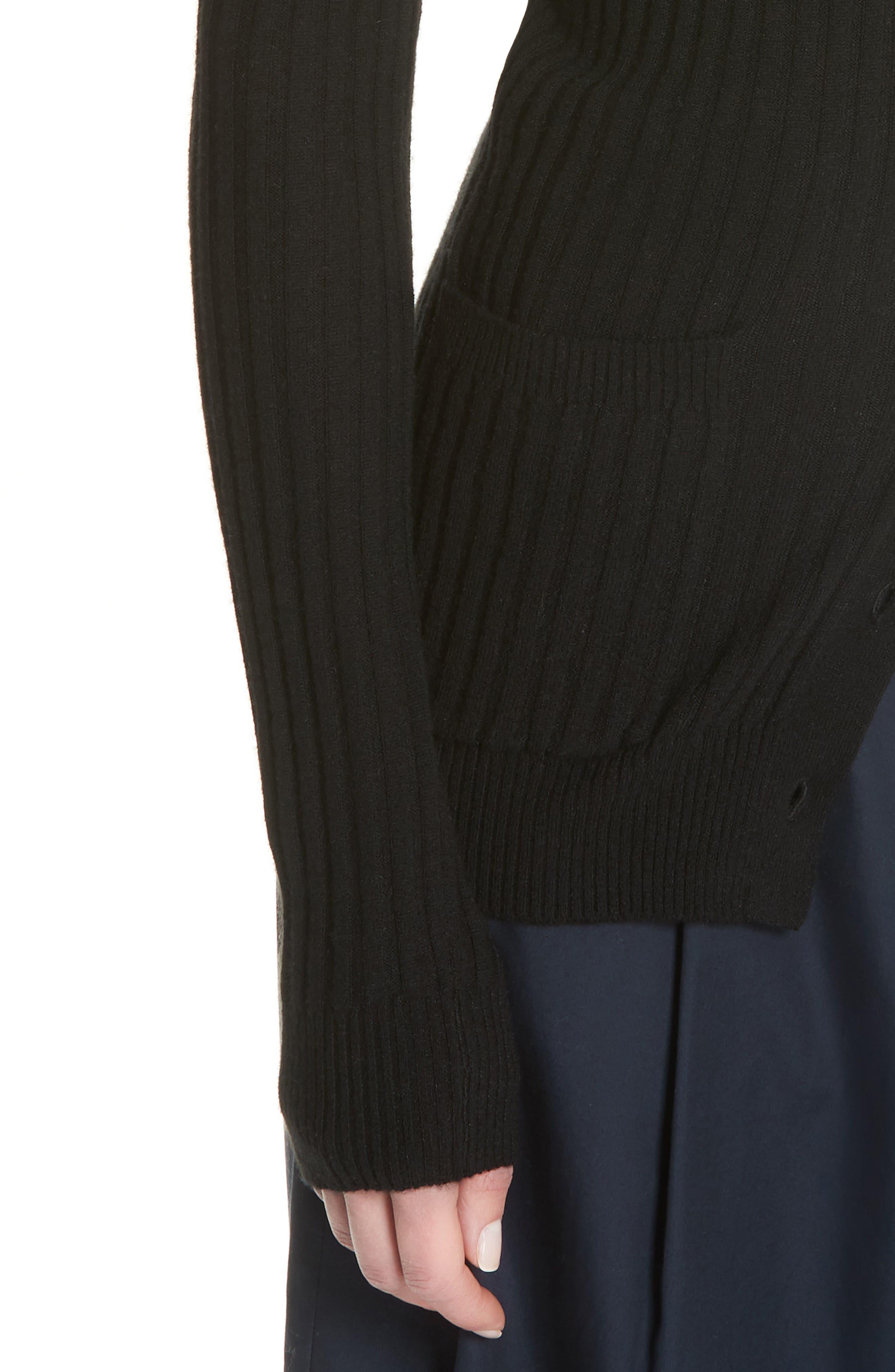 Ribbed Skinny Cashmere Cardigan,                             Alternate thumbnail 4, color,                             BLACK