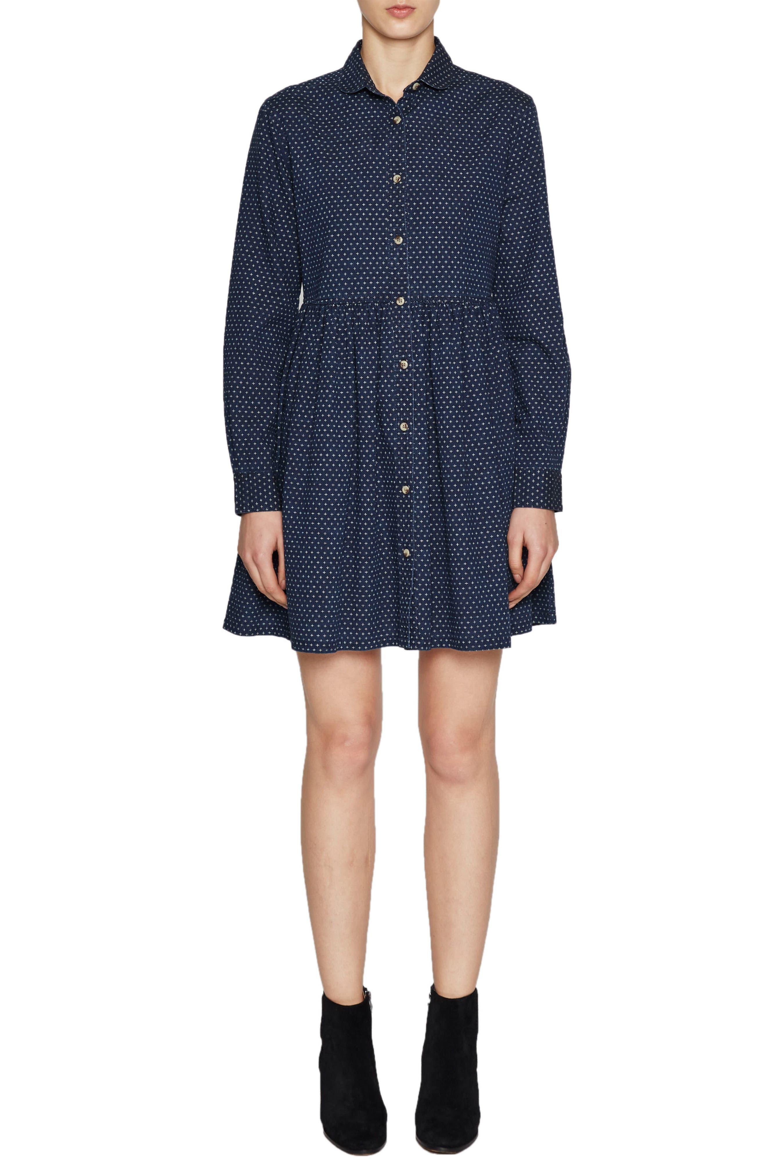 Indigo Cross Denim Shirtdress,                         Main,                         color, 410