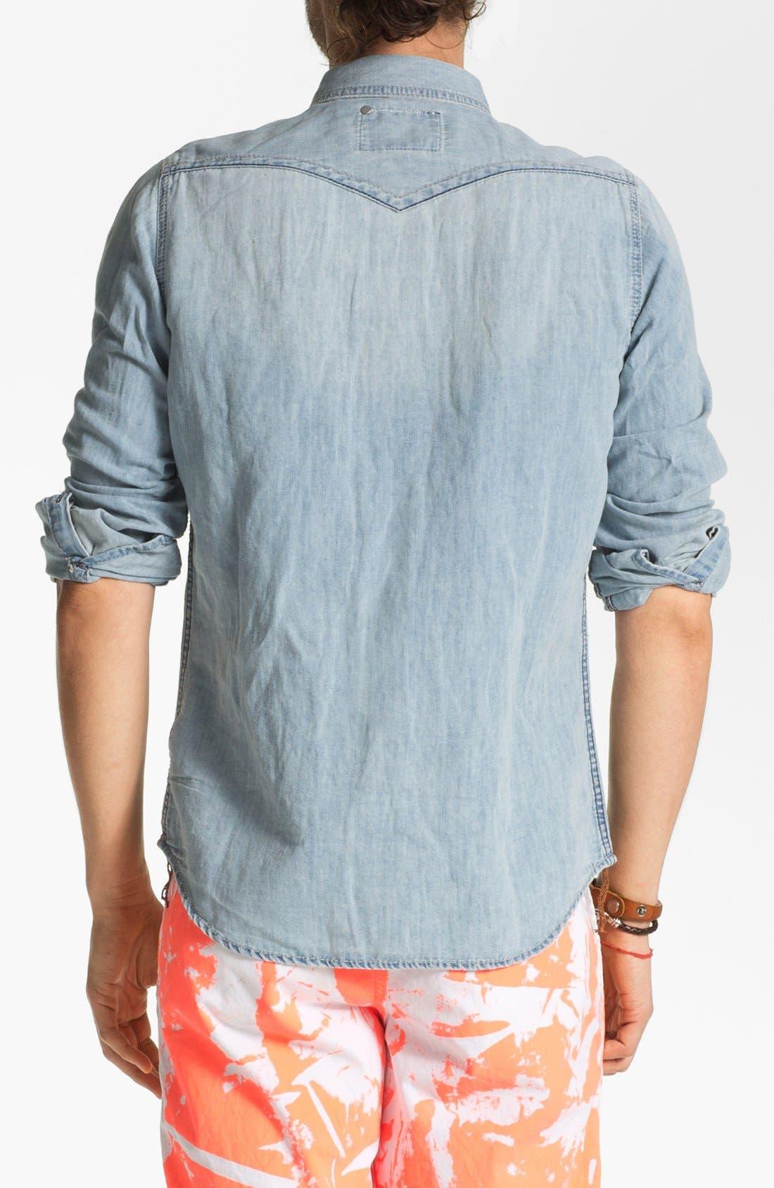 'Sonora' Western Denim Shirt,                             Alternate thumbnail 3, color,                             400