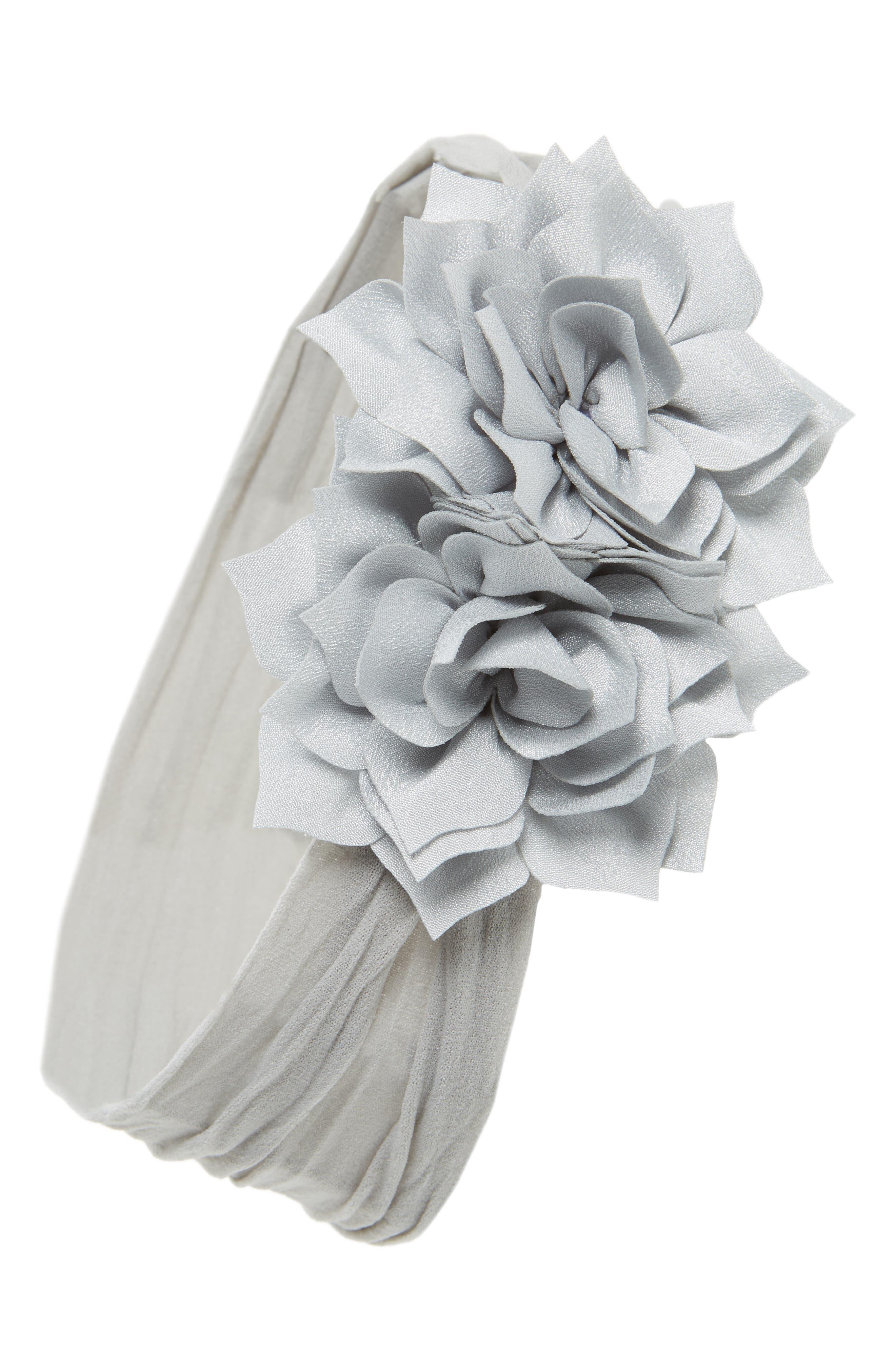Holiday Poinsettia Flower Headband,                         Main,                         color, GREY