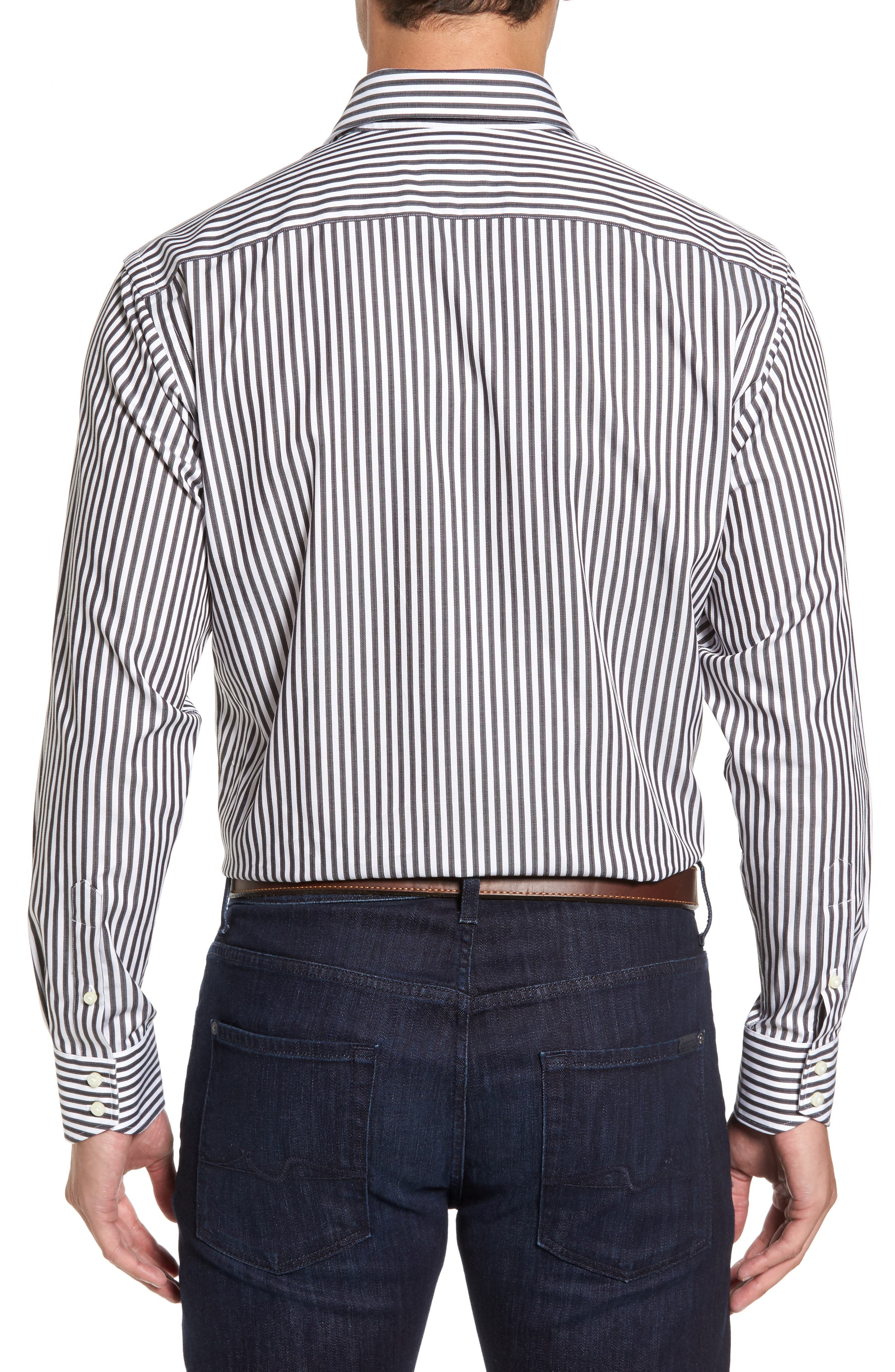 THOMAS DEAN,                             Regular Fit Stripe Herringbone Sport Shirt,                             Alternate thumbnail 2, color,                             021