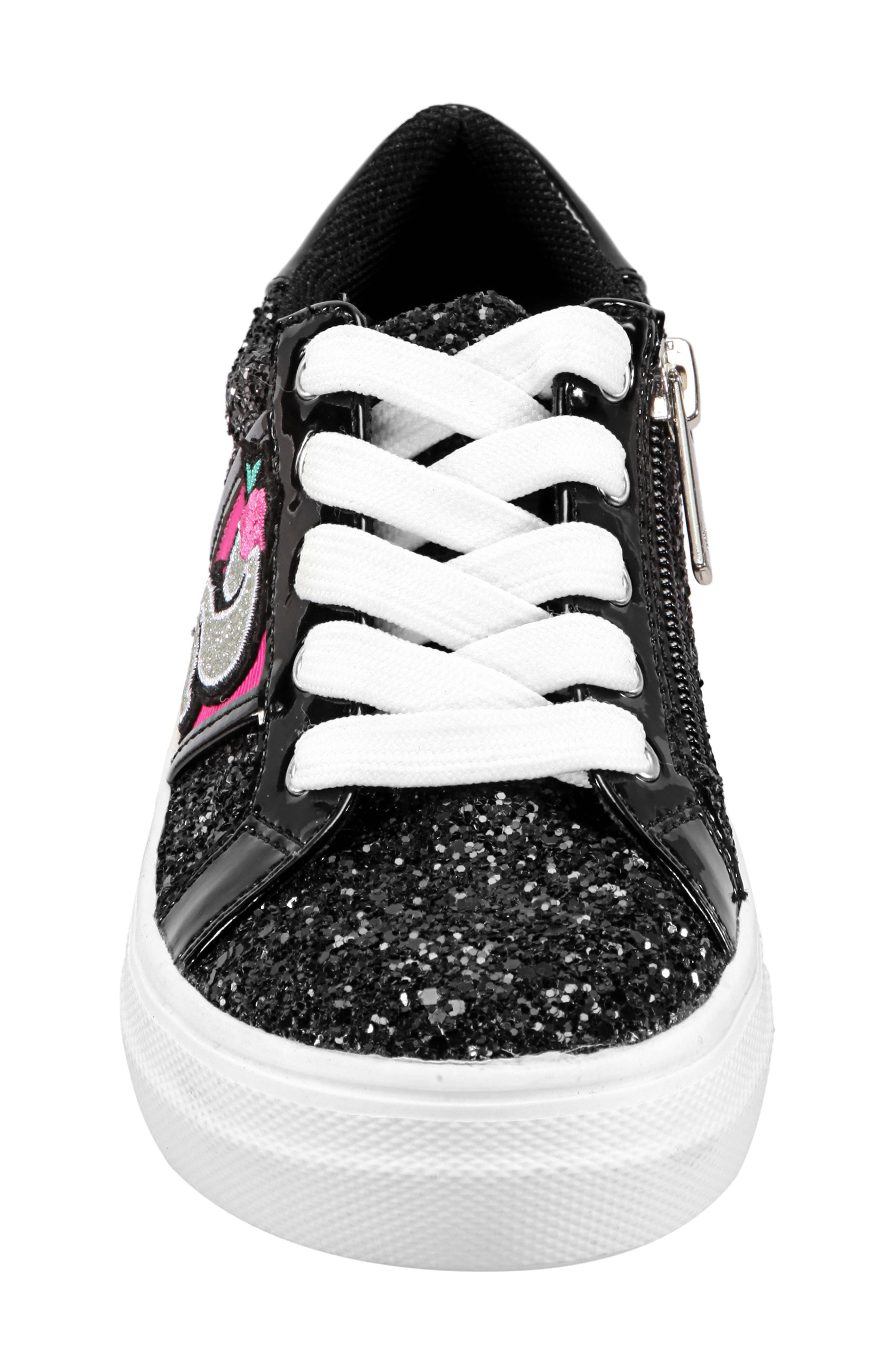 Hazeline-N Glitter Sneaker,                             Alternate thumbnail 4, color,                             BLACK CHUNKY GLITTER
