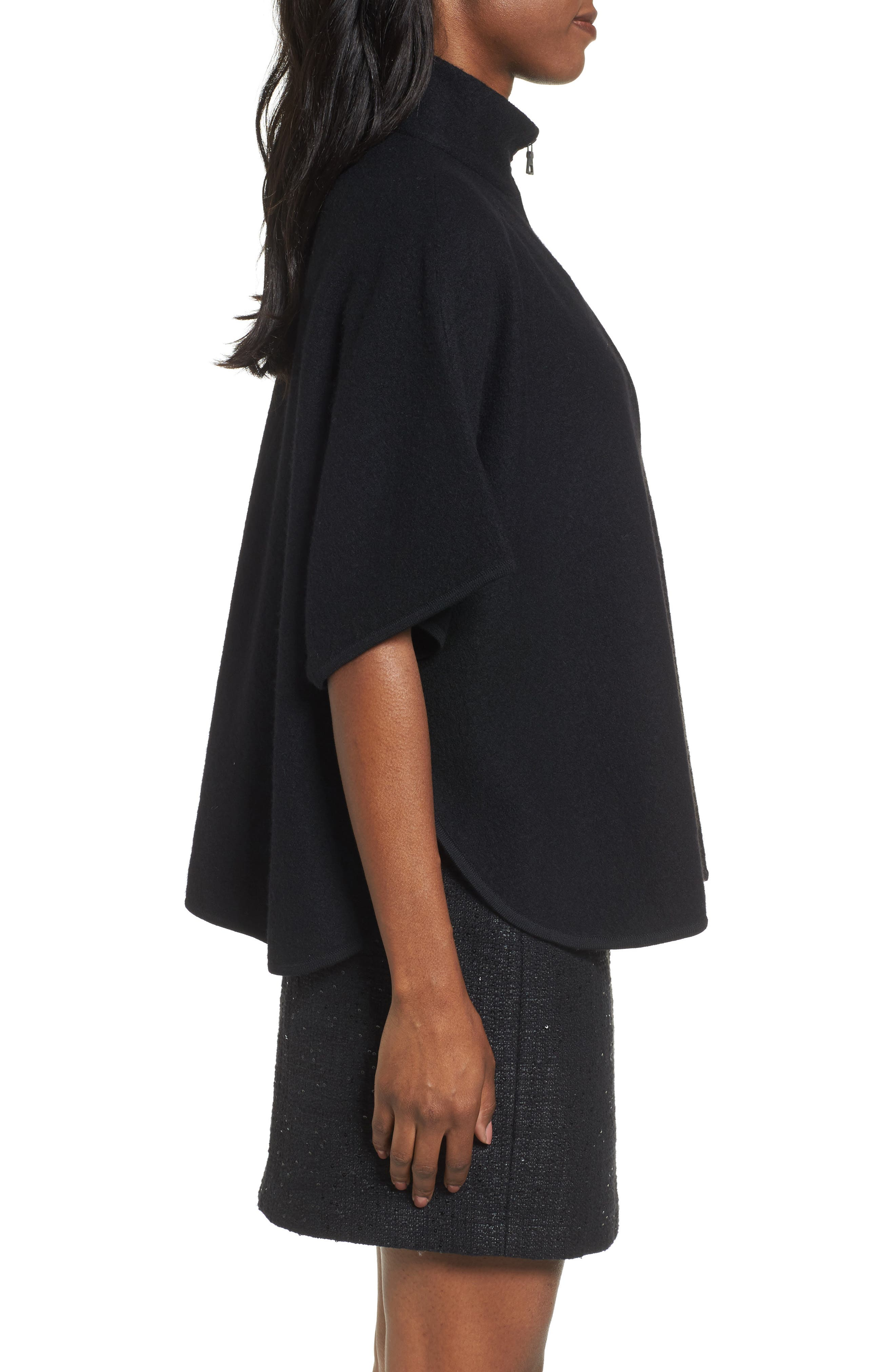 Zip Front Boiled Wool Cape,                             Alternate thumbnail 3, color,                             001