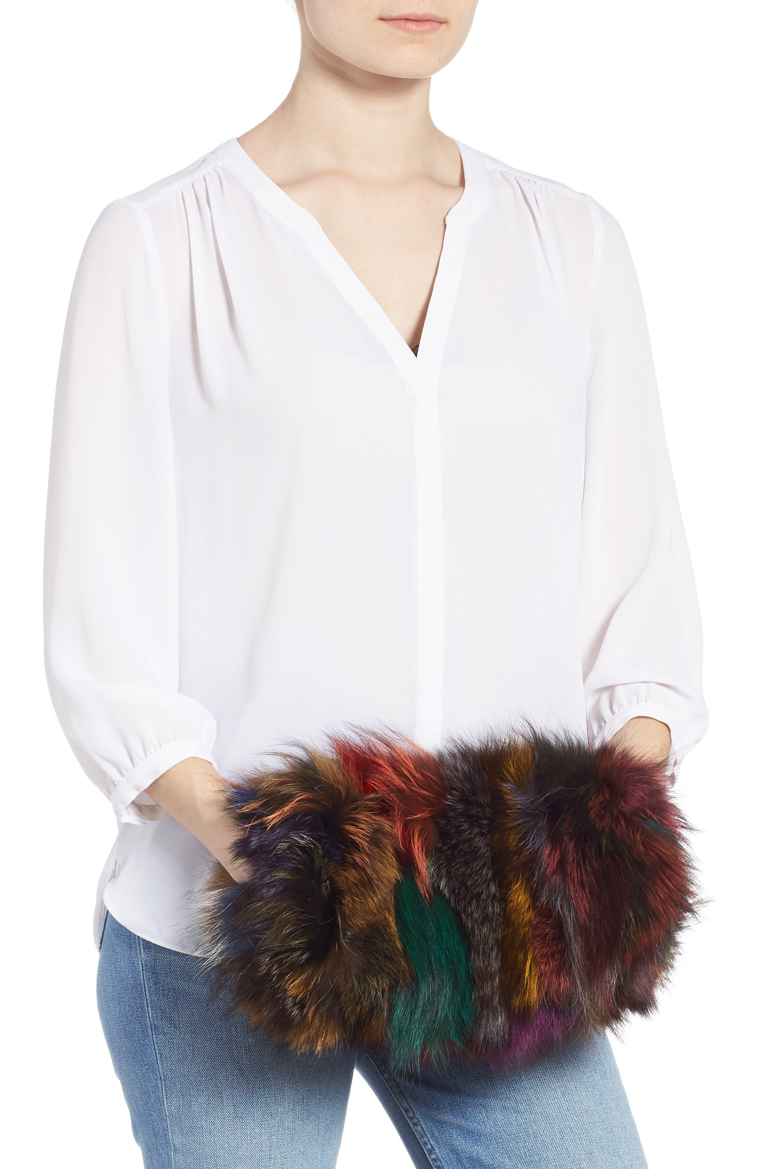 Elmo Genuine Silver Fox Fur Shoulder Bag,                             Alternate thumbnail 3, color,                             BLUE MULTI