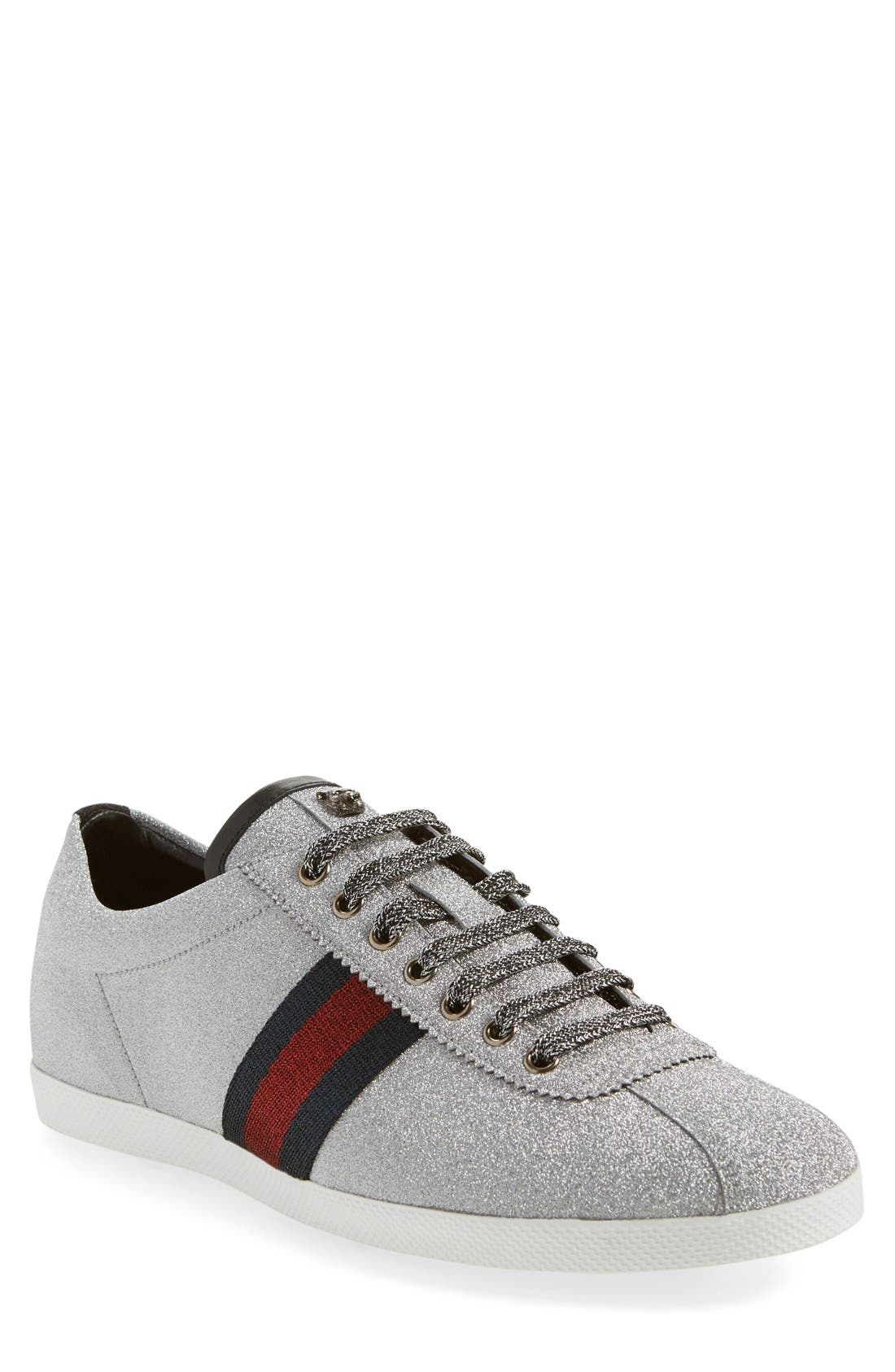 Bambi Lace-Up Sneaker,                         Main,                         color, ARGENTO FABRIC