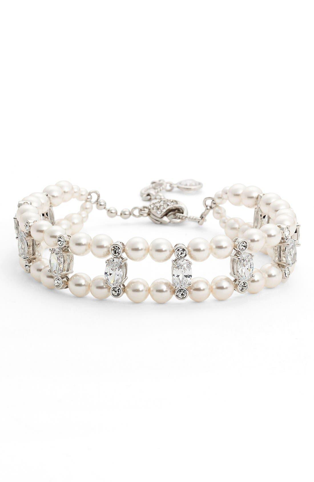 Double Row Imitation Pearl & Crystal Bracelet,                             Main thumbnail 1, color,                             IVORY