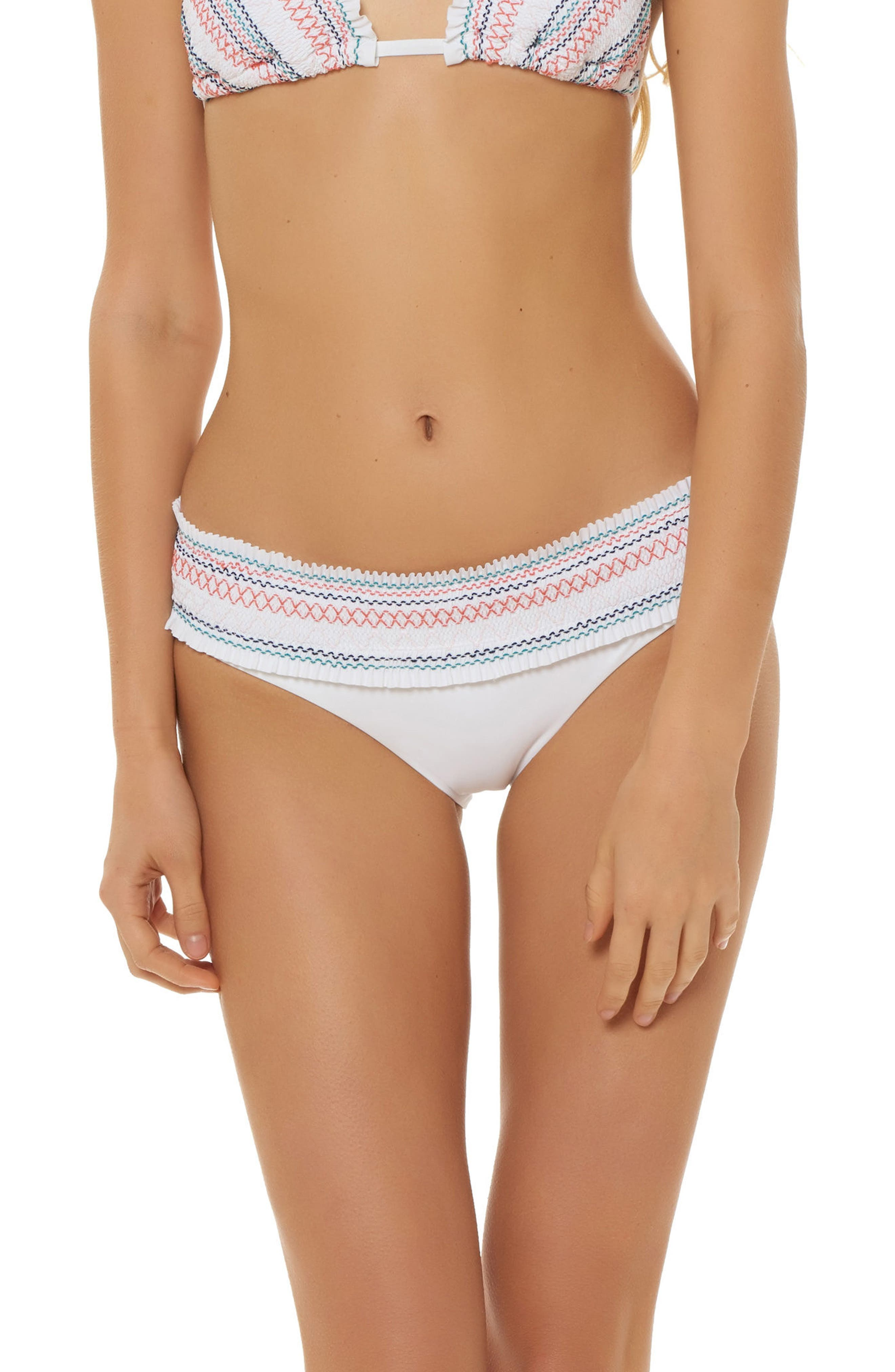 Smocked Waistband Hipster Bikini Bottoms,                         Main,                         color, WHITE