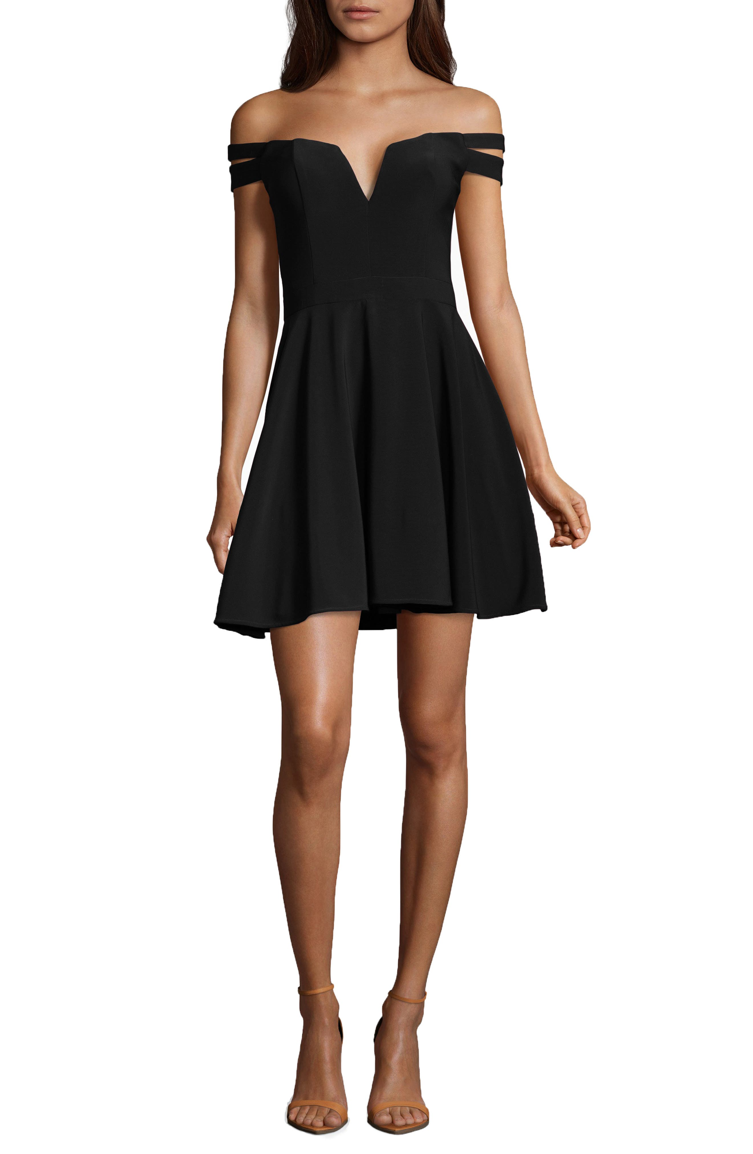 Off the Shoulder Double Strap Party Dress,                         Main,                         color, BLACK