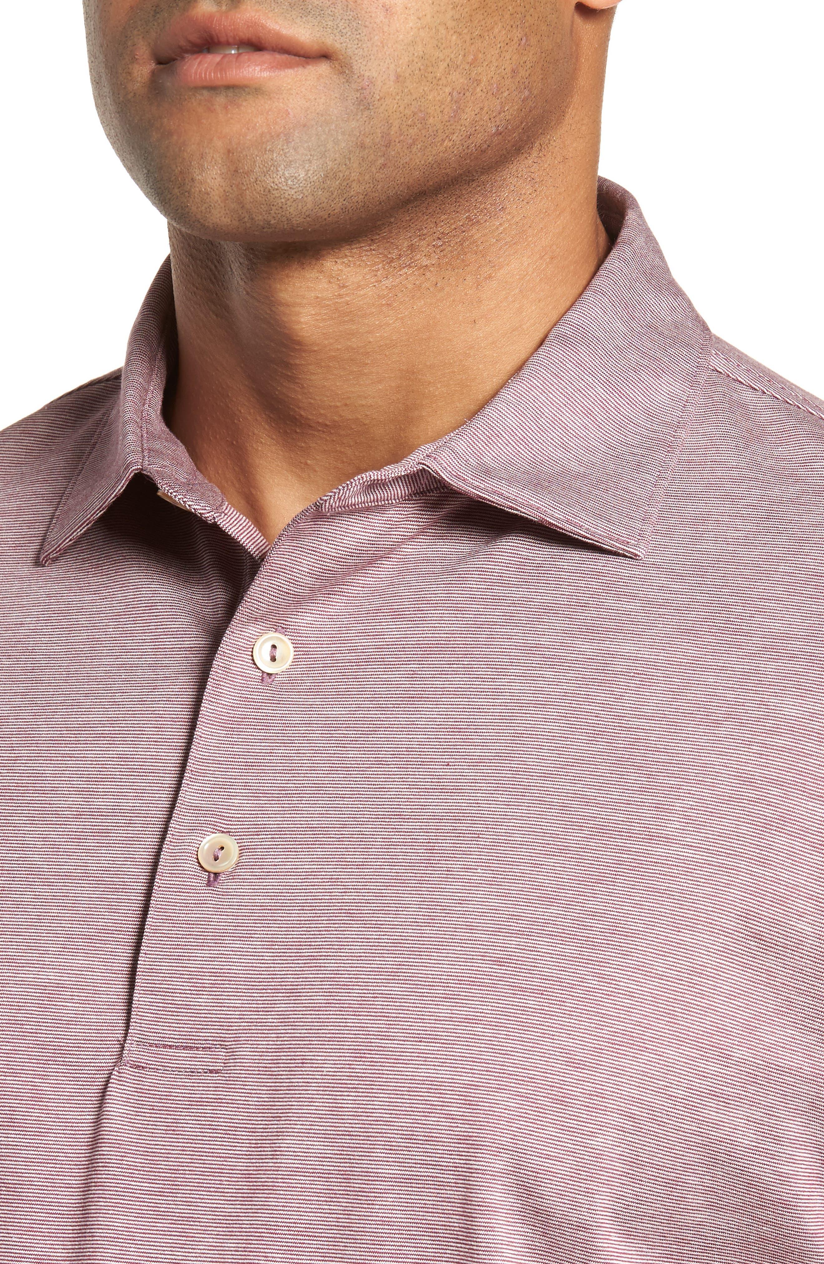 Briarwood Stripe Cotton Polo,                             Alternate thumbnail 4, color,                             PULPO