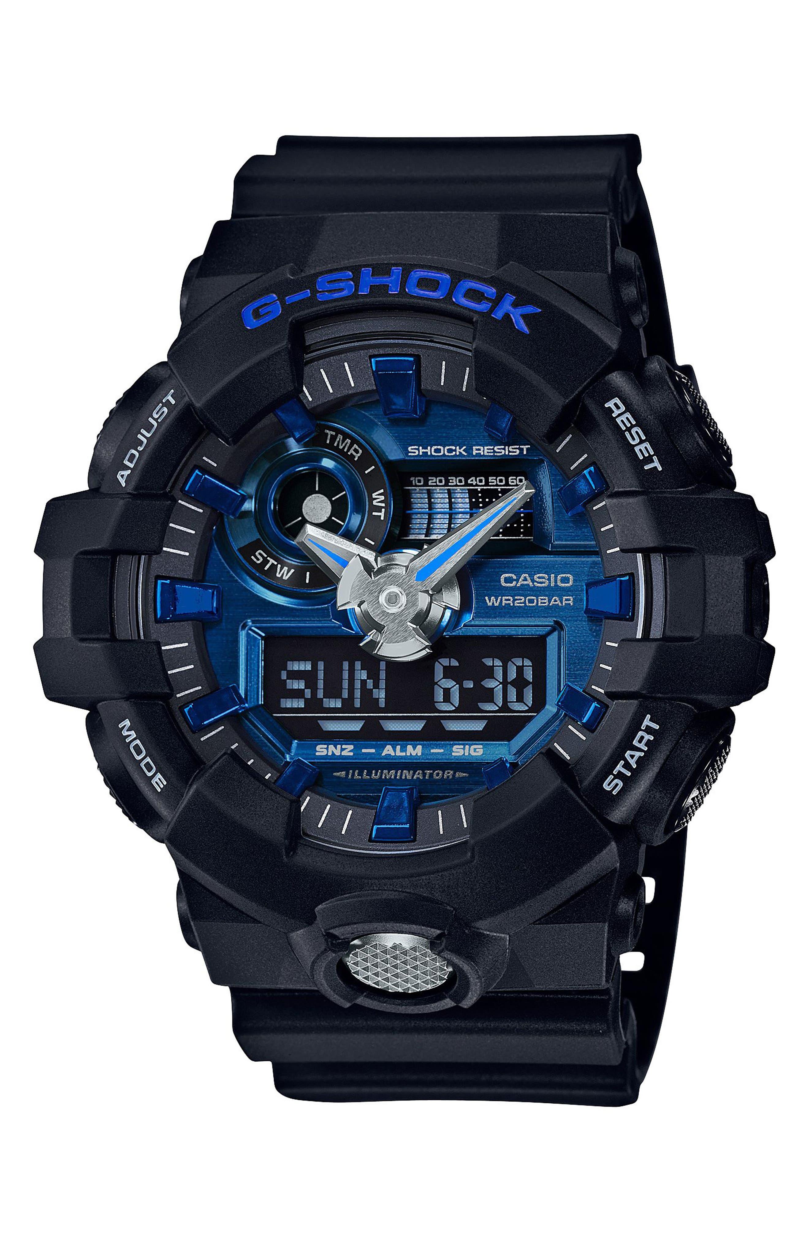 G-Shock GA710 Ana-Digi Watch, 57.5mm,                             Main thumbnail 1, color,                             BLACK/ BLUE