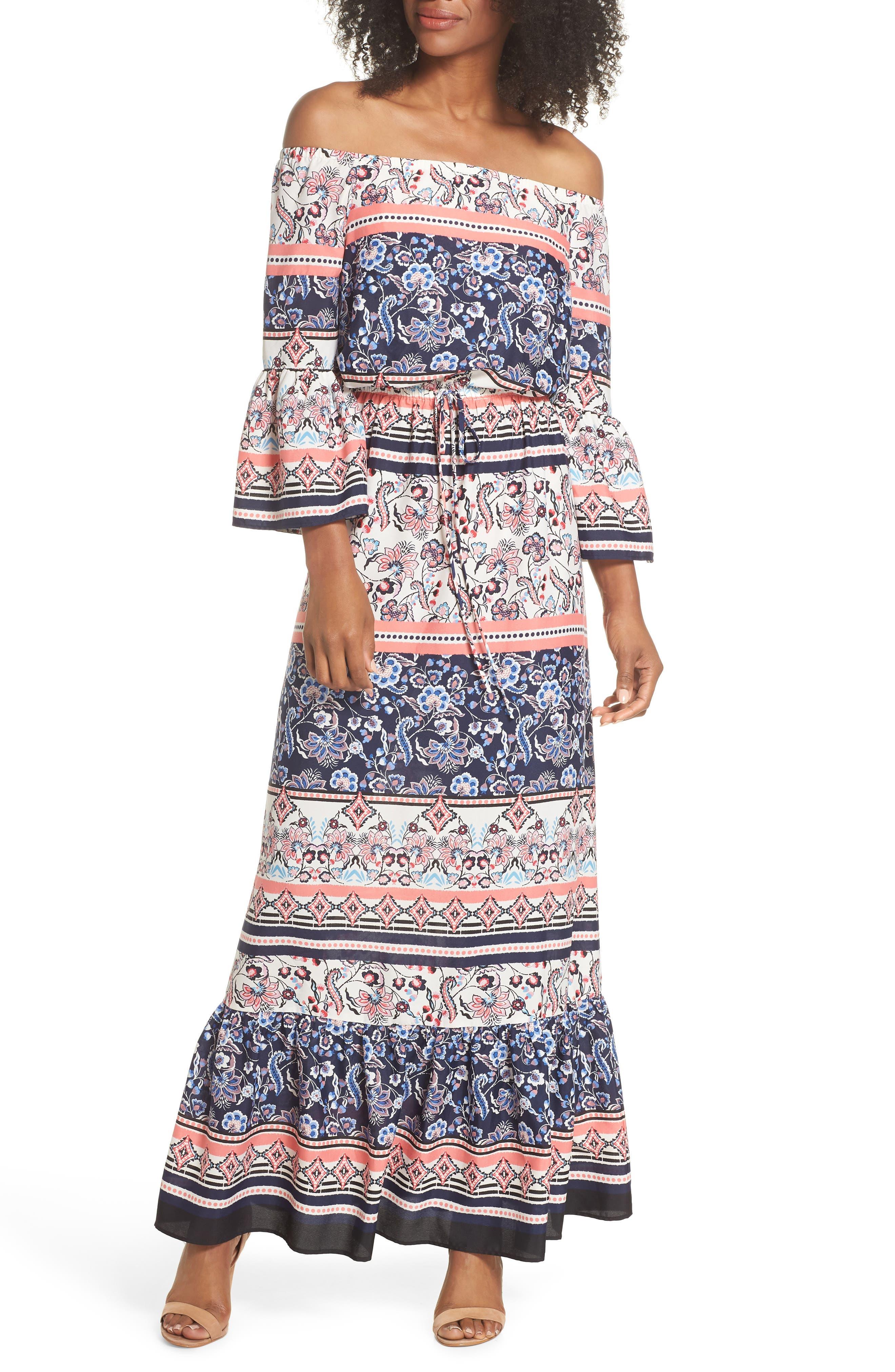 Off the Shoulder Tie Waist Maxi Dress,                             Main thumbnail 1, color,                             470