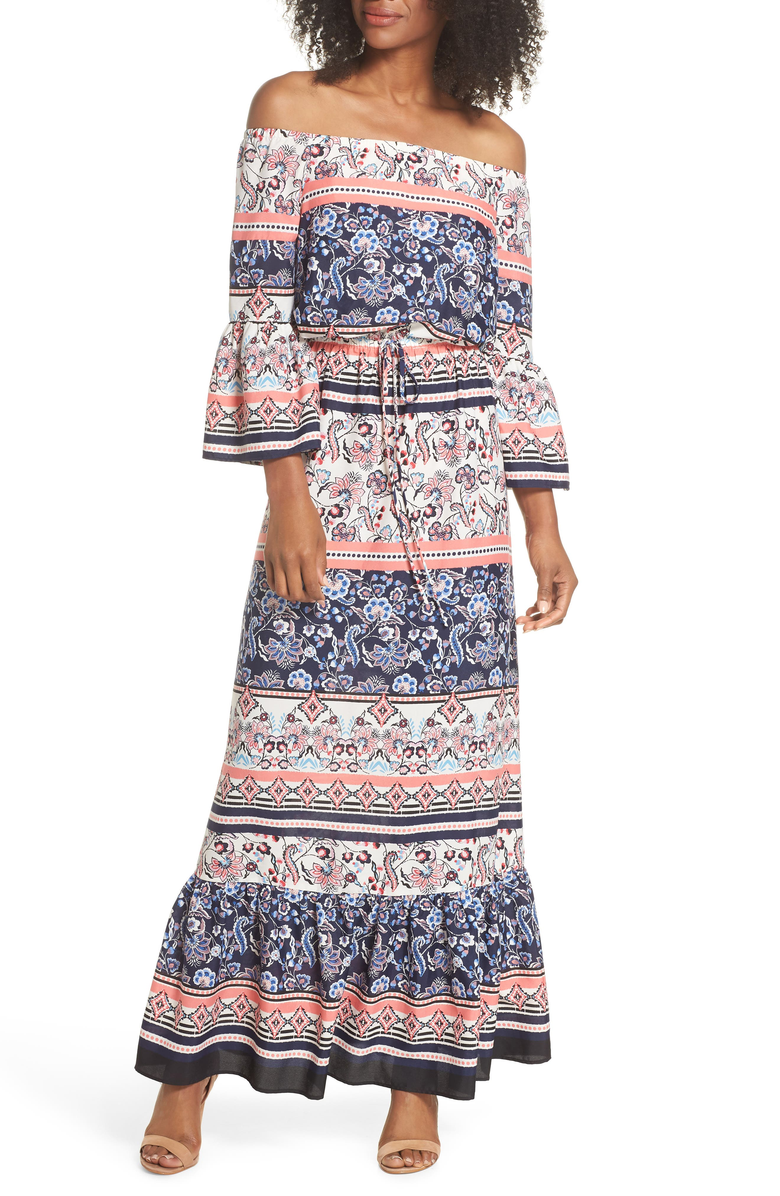 Off the Shoulder Tie Waist Maxi Dress,                         Main,                         color, 470